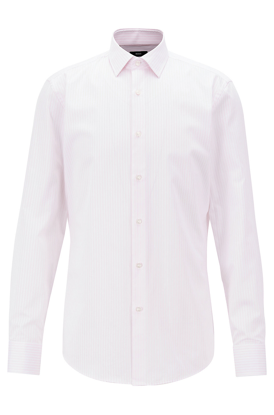 Boss Slim Fit Shirt With Vertical Stripes On Cotton Twill