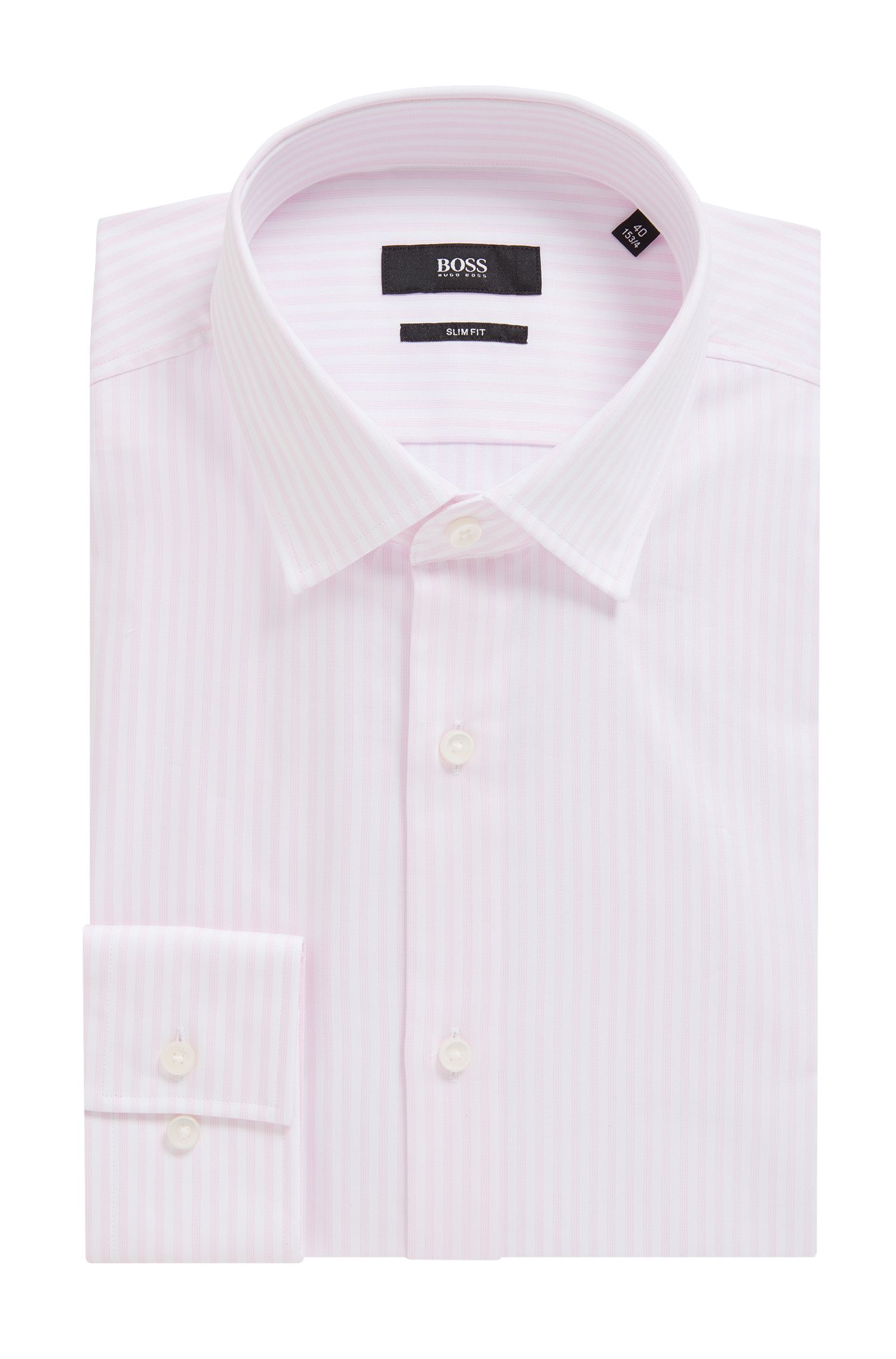Slim-fit shirt with vertical stripes on cotton twill, light pink