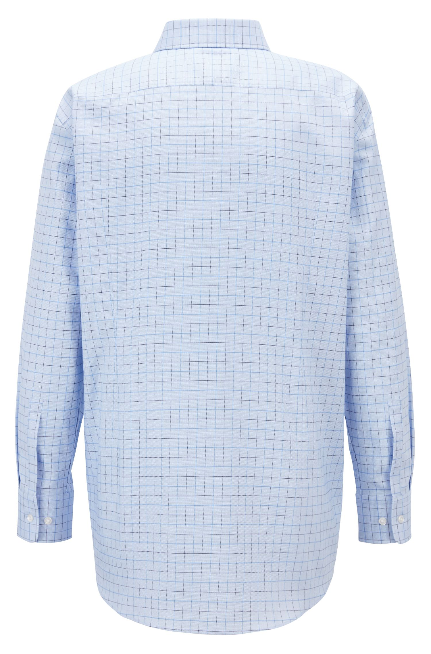 Slim-fit shirt in cotton with two-colored check pattern, Light Blue