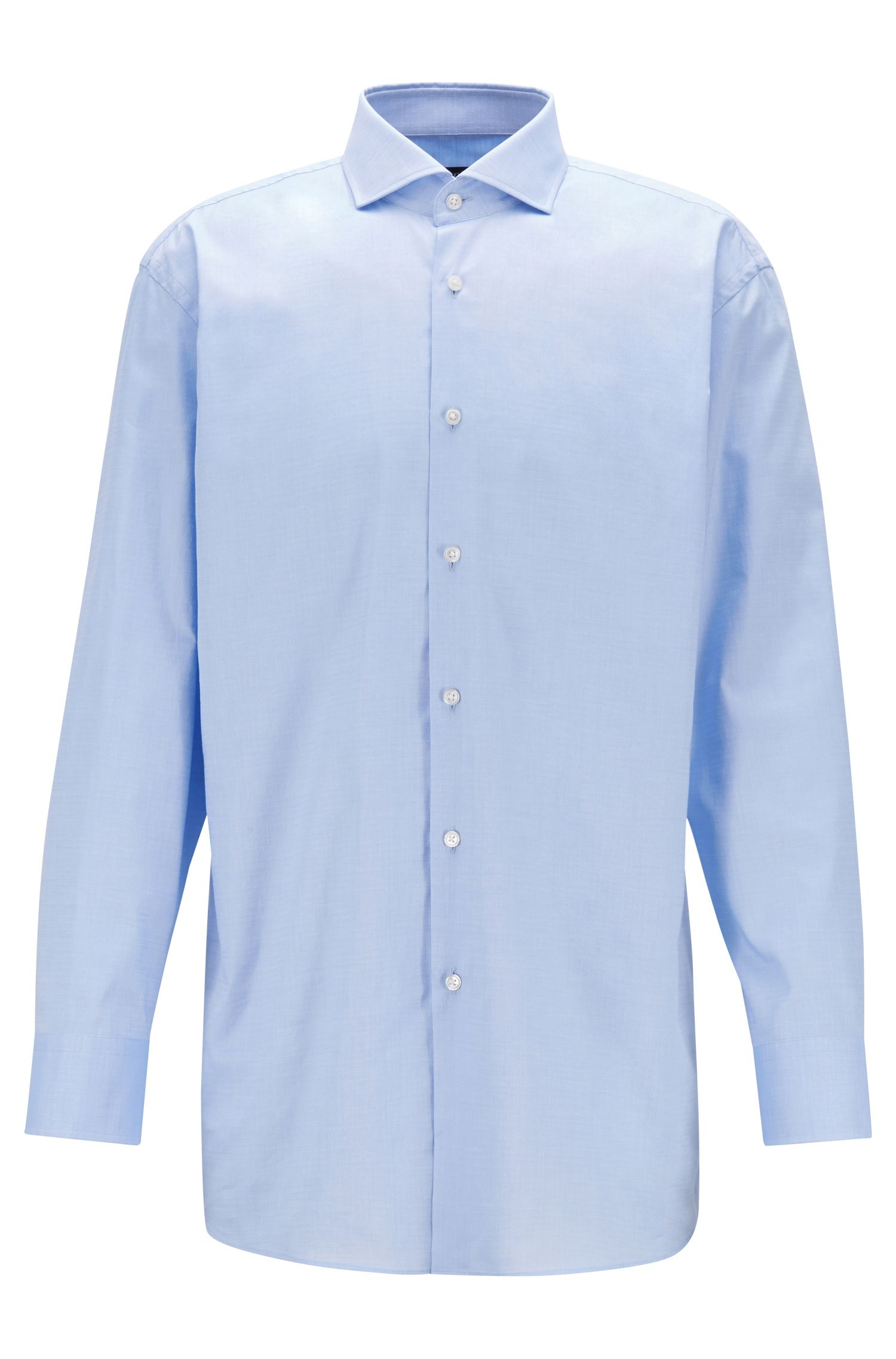 Sharp-fit shirt in patterned dobby cotton, Light Blue