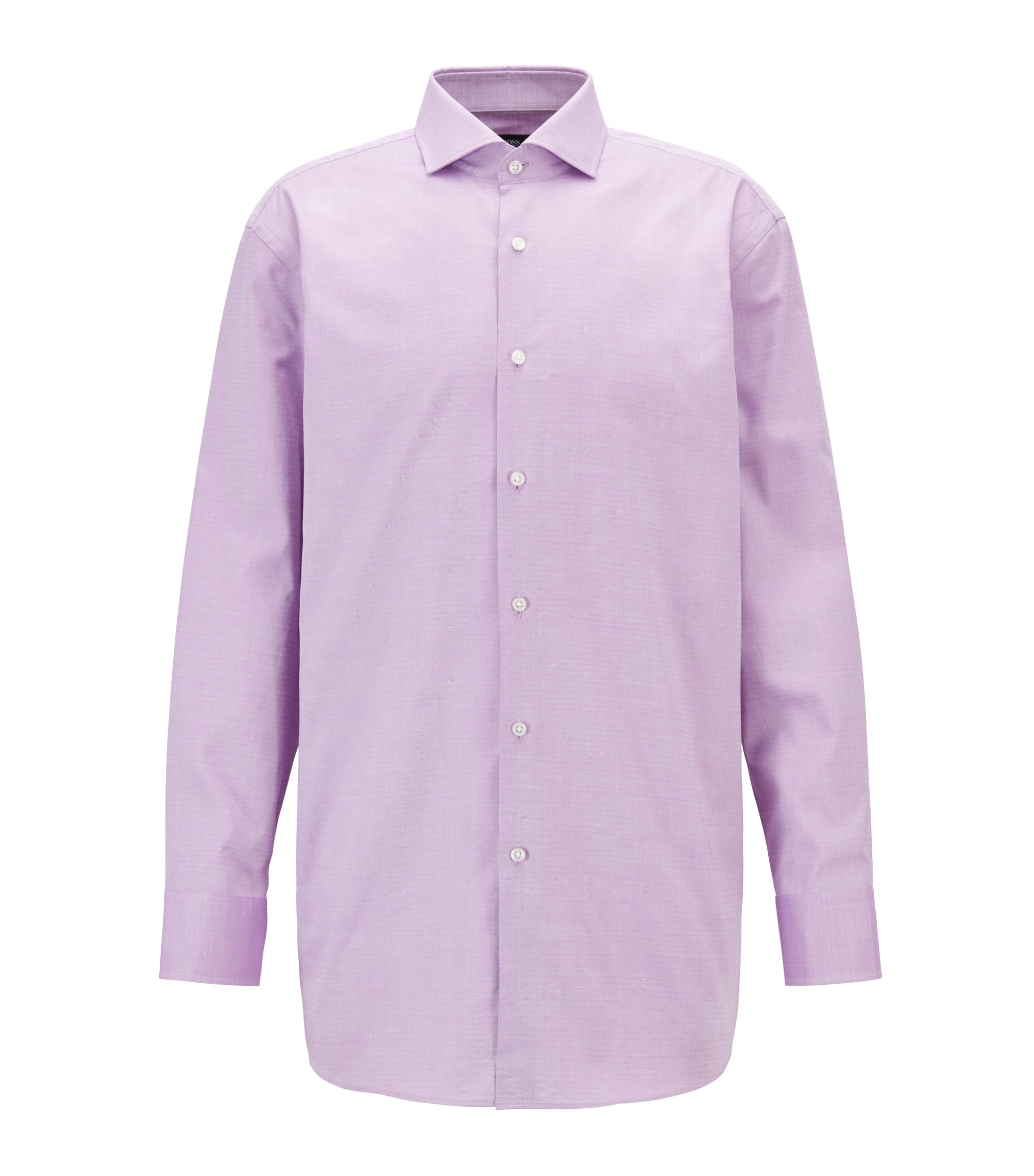 Slim-fit shirt in patterned dobby cotton, Purple