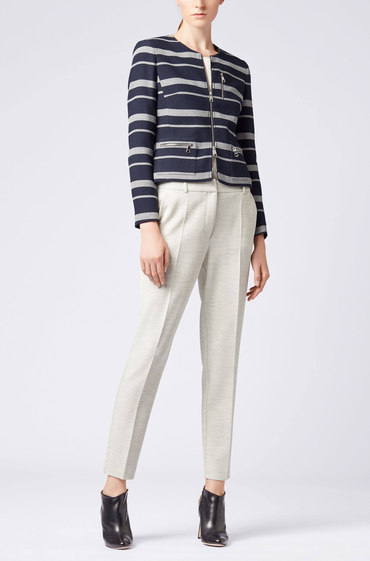 Slim-fit blazer with textured stripes and zipper detail, Patterned