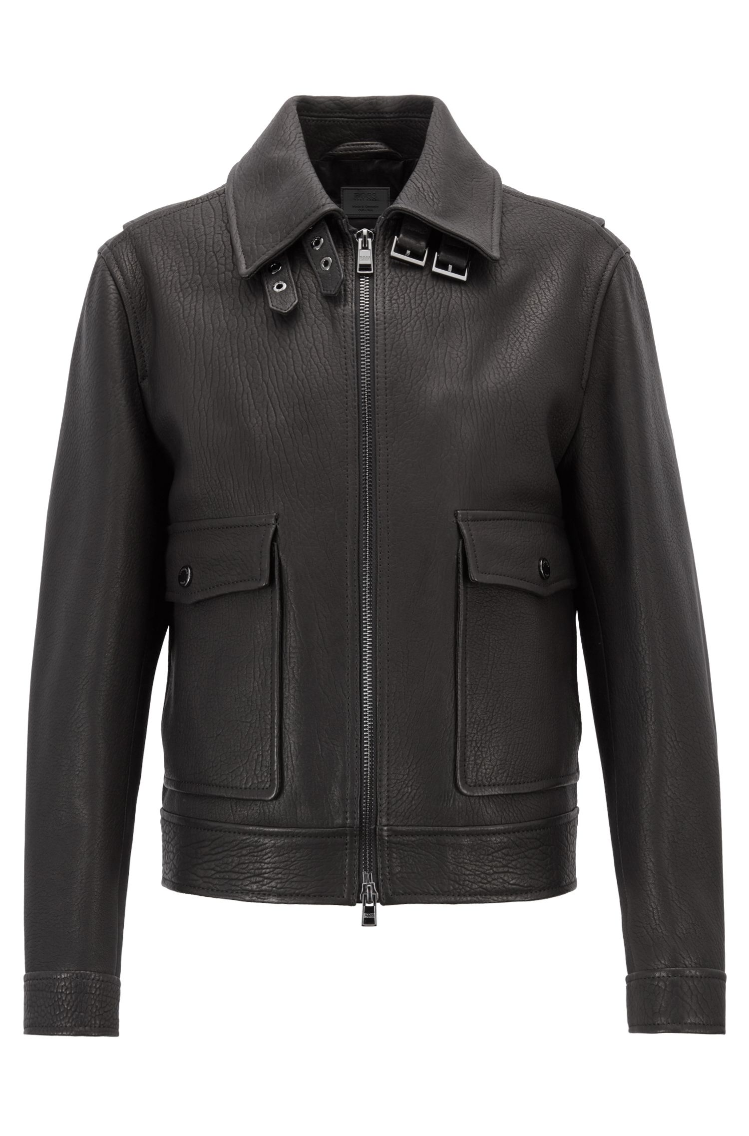Made in Germany grained leather jacket with oversize pockets, Black