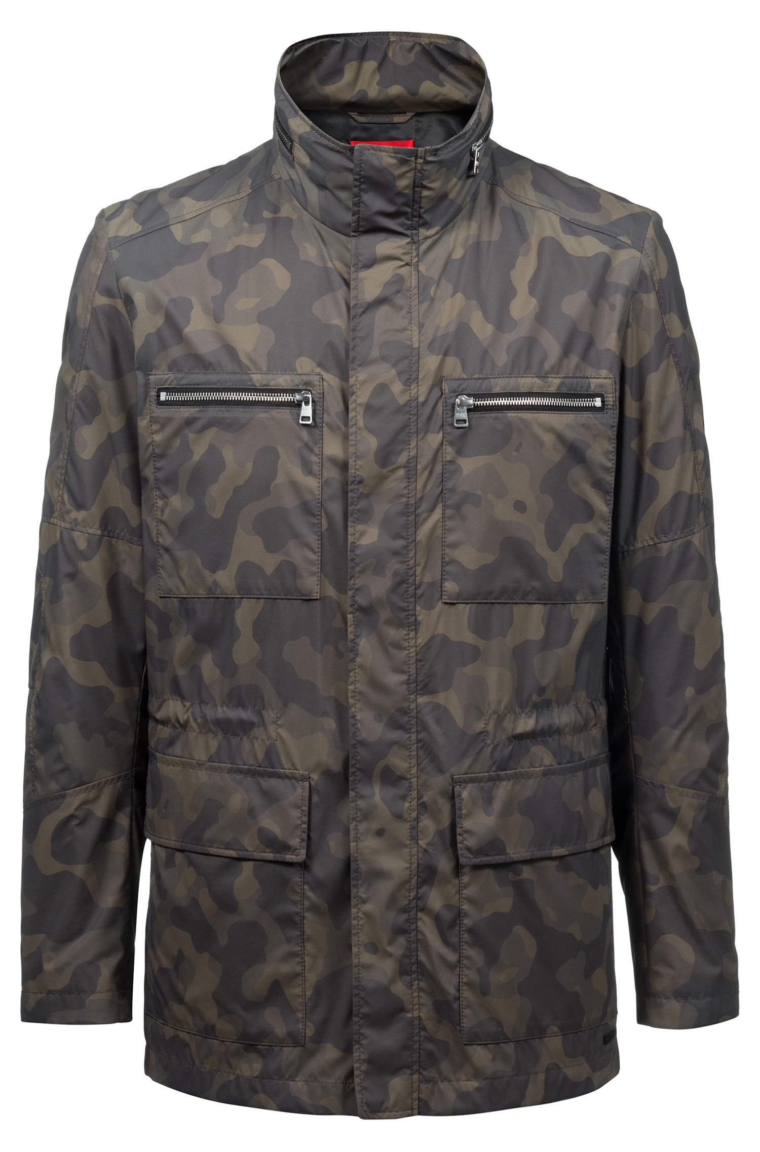 Slim-fit jacket in camouflage technical fabric, Dark Green