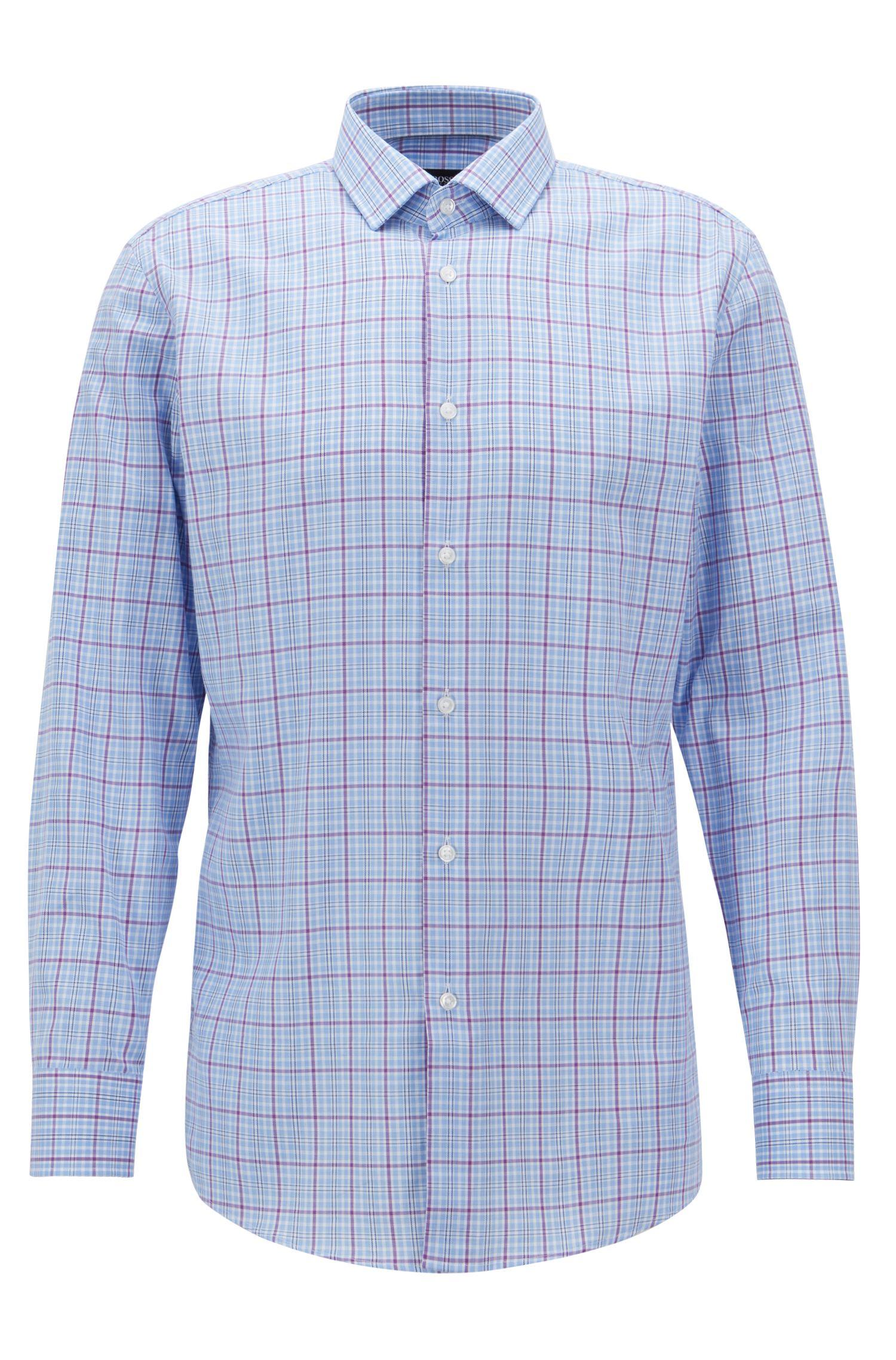 Slim-fit shirt in plain-check cotton twill, Dark pink