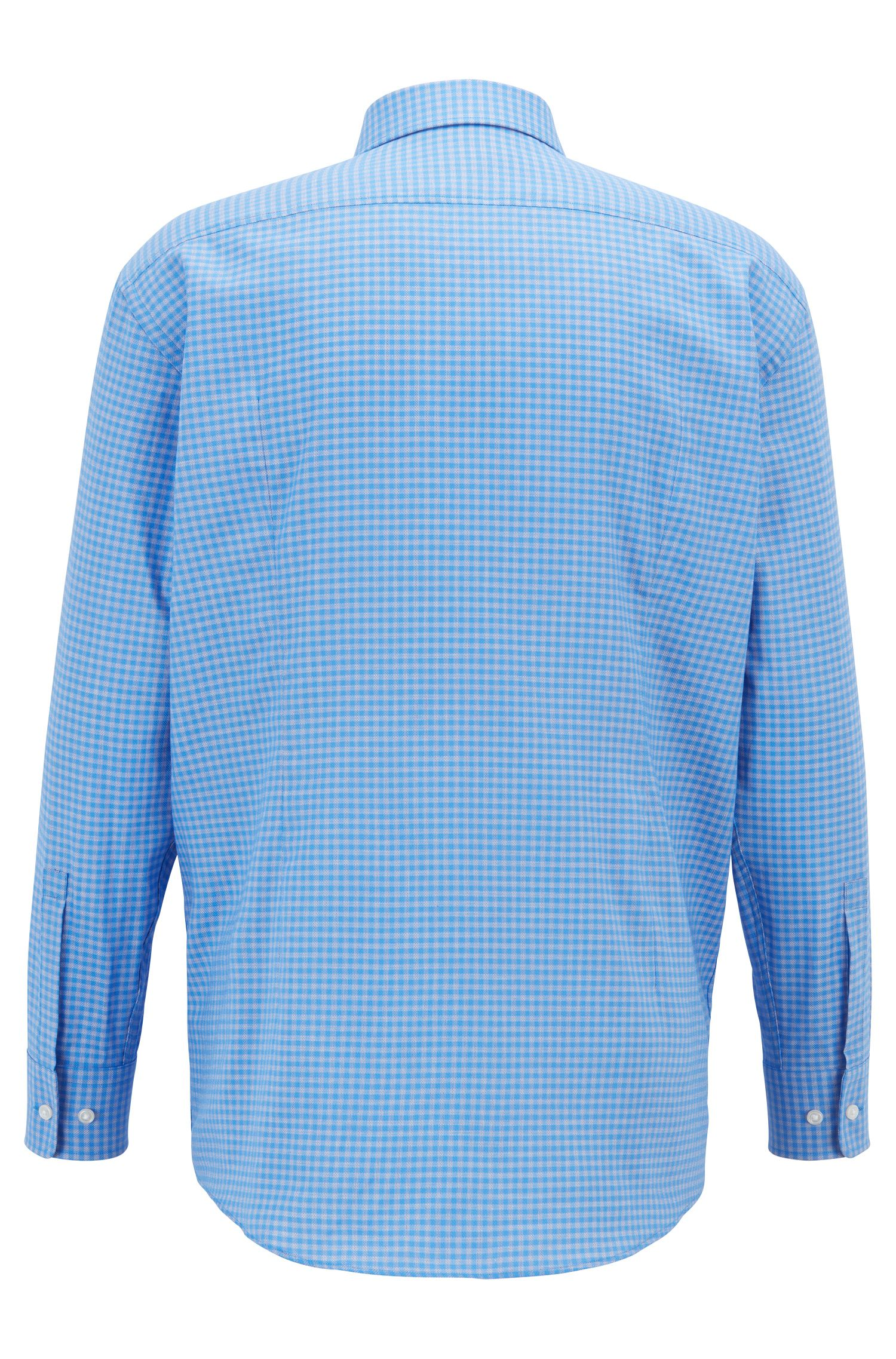 Sharp-fit shirt in cotton twill with Vichy check pattern, Blue