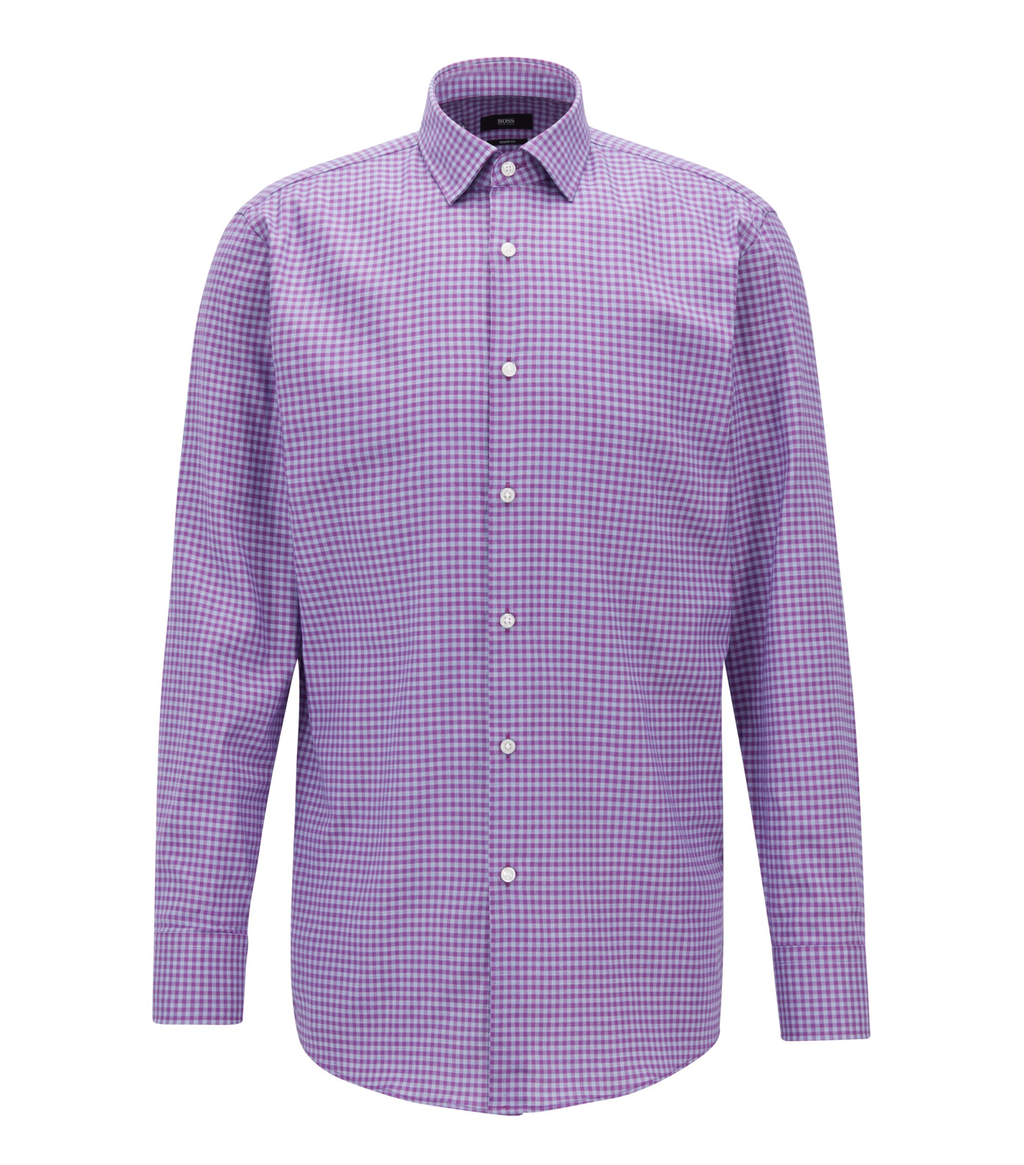 Slim-fit shirt in cotton twill with Vichy check pattern, Dark pink