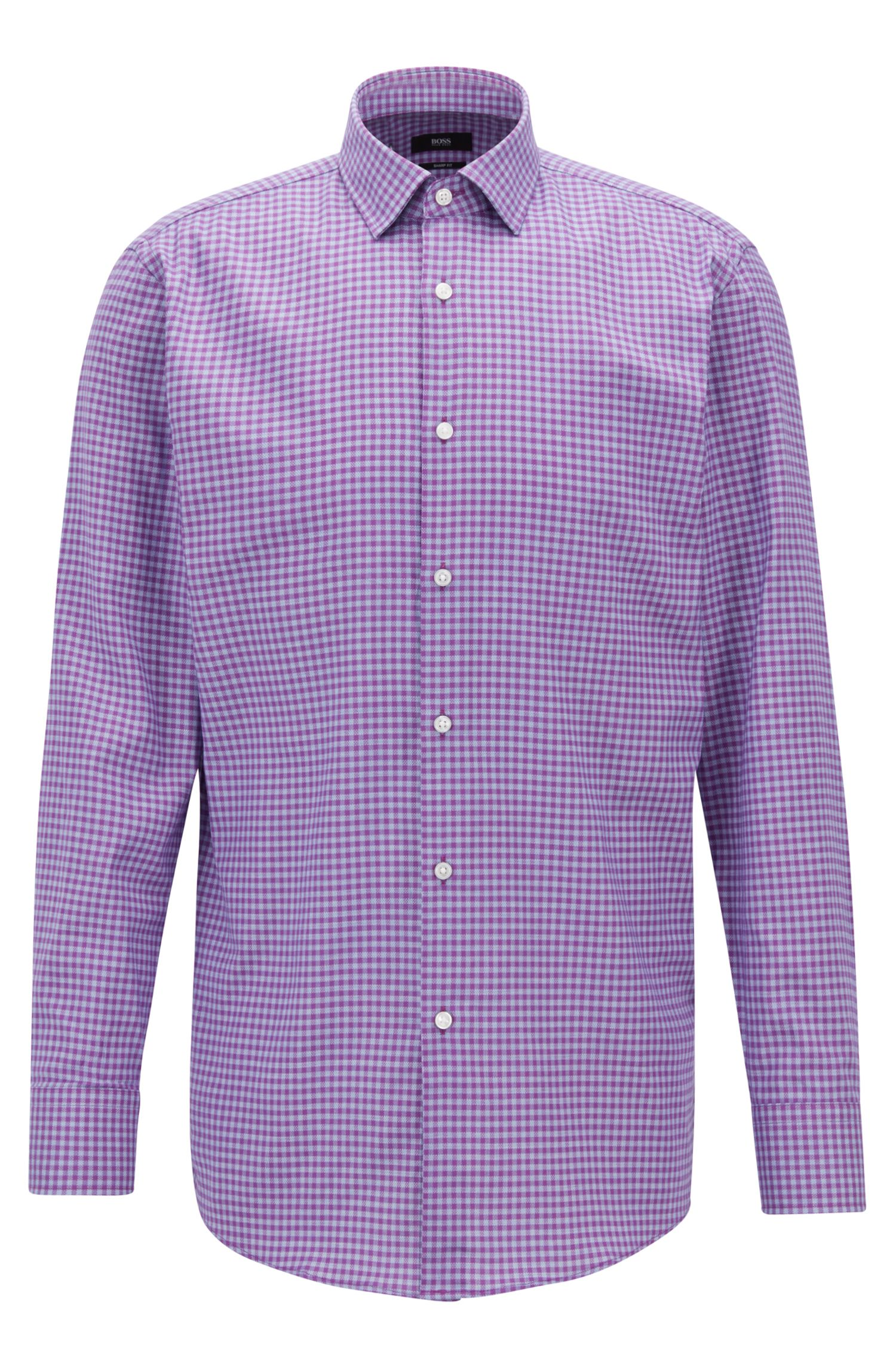Sharp-fit shirt in cotton twill with Vichy check pattern, Dark pink