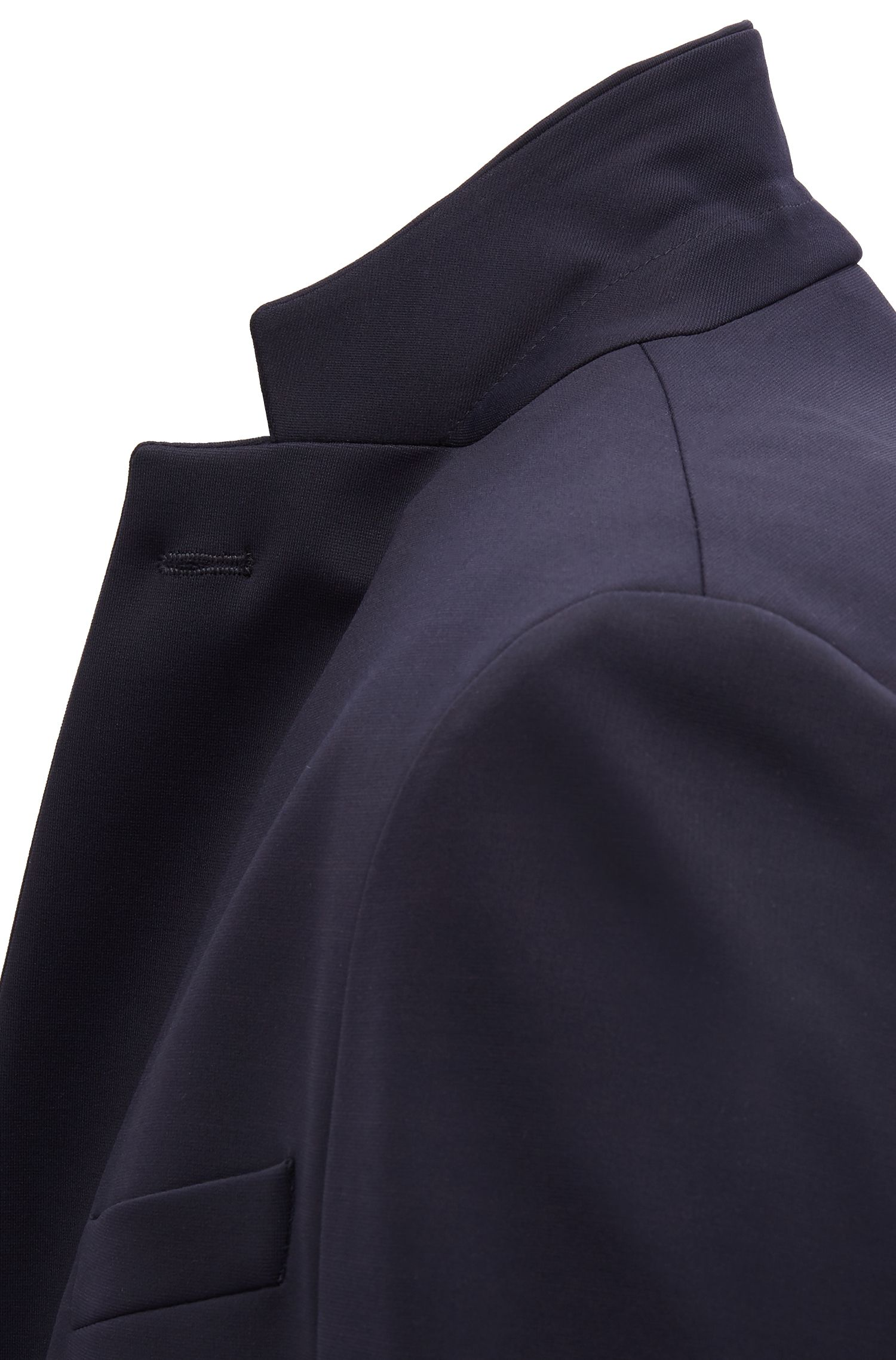 Slim-fit blazer in technical fabric with stretch lining, Open Blue