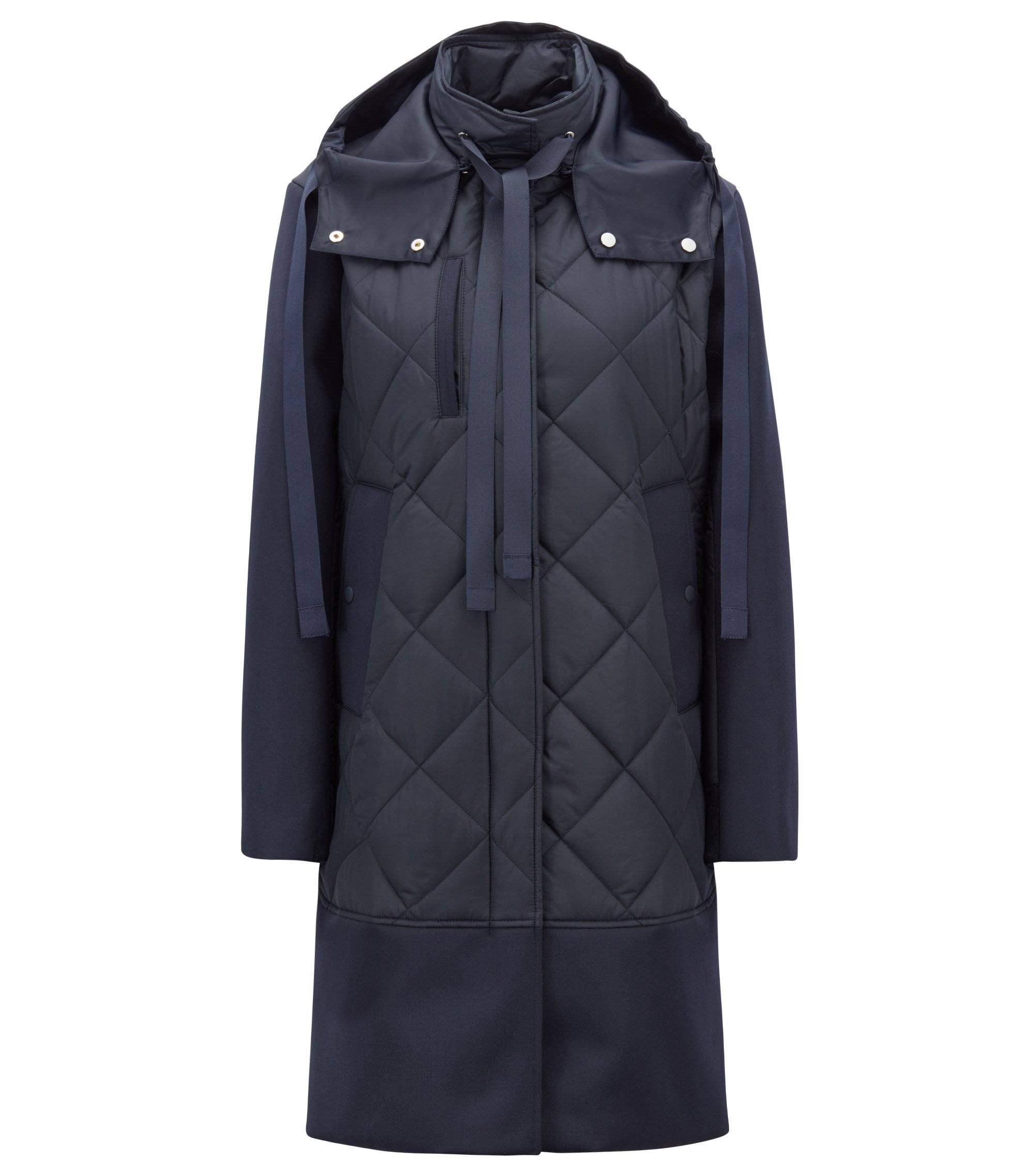 Quilted jacket in Italian technical fabric with detachable hood, Open Blue