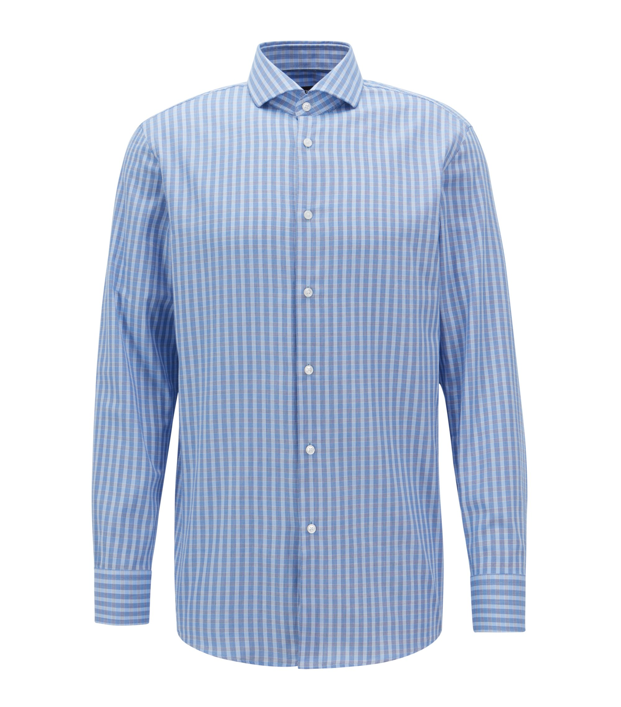 Slim-fit shirt in cotton twill with Vichy check pattern, Blue