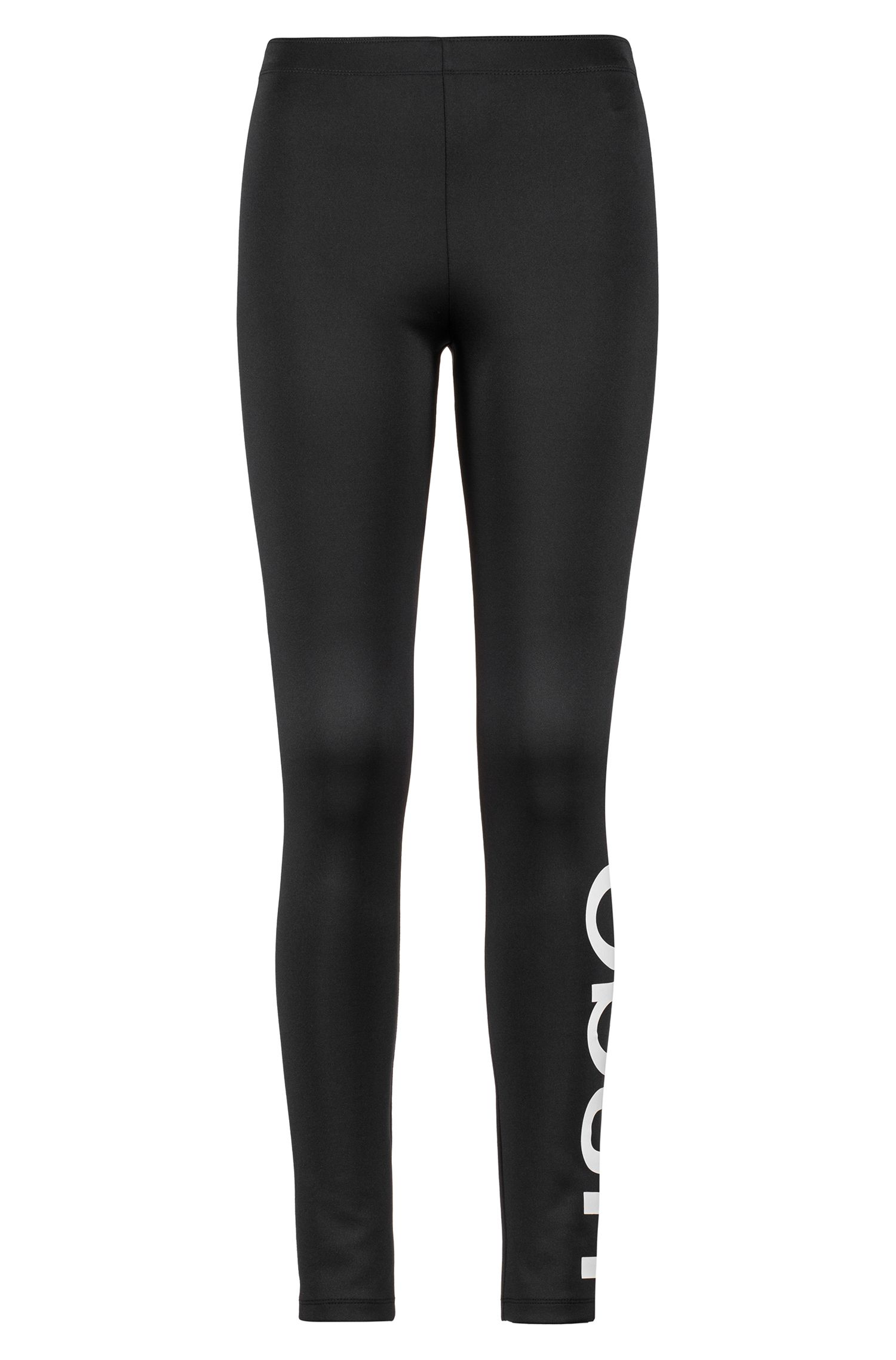 Extra-slim-fit logo pants in technical stretch fabric, Black