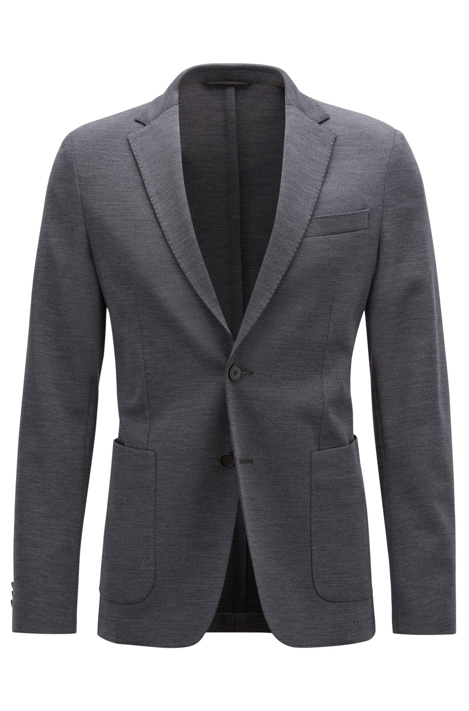 Slim-fit blazer in a stretch virgin-wool blend, Dark Grey