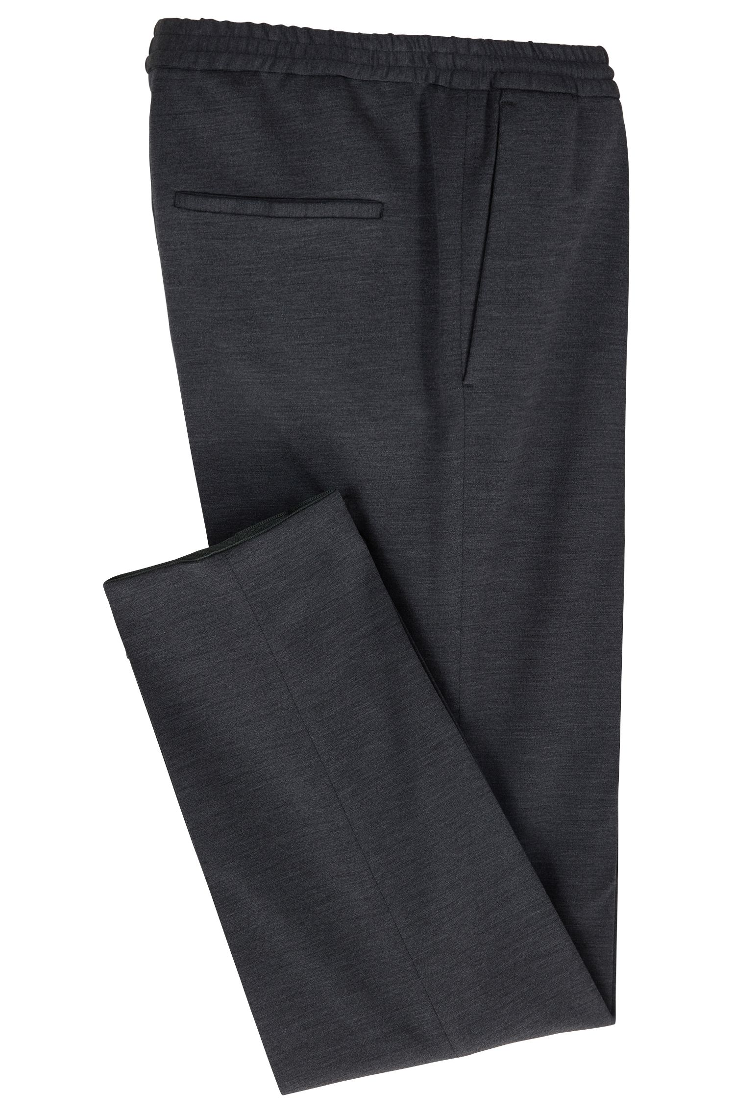 Pants in a virgin-wool blend with elastic waist, Dark Grey