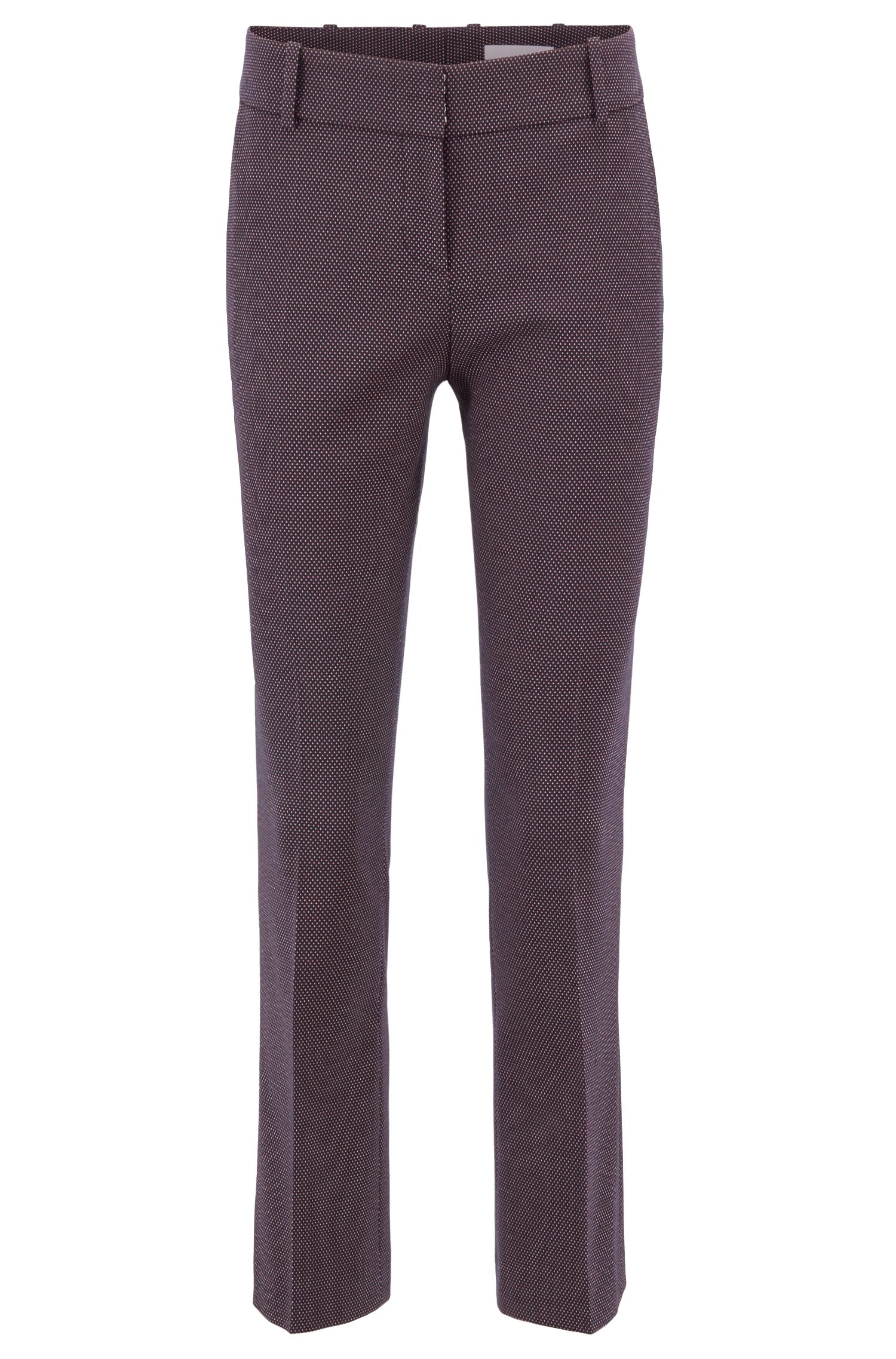 Cigarette pants in patterned stretch fabric with cropped leg, Patterned