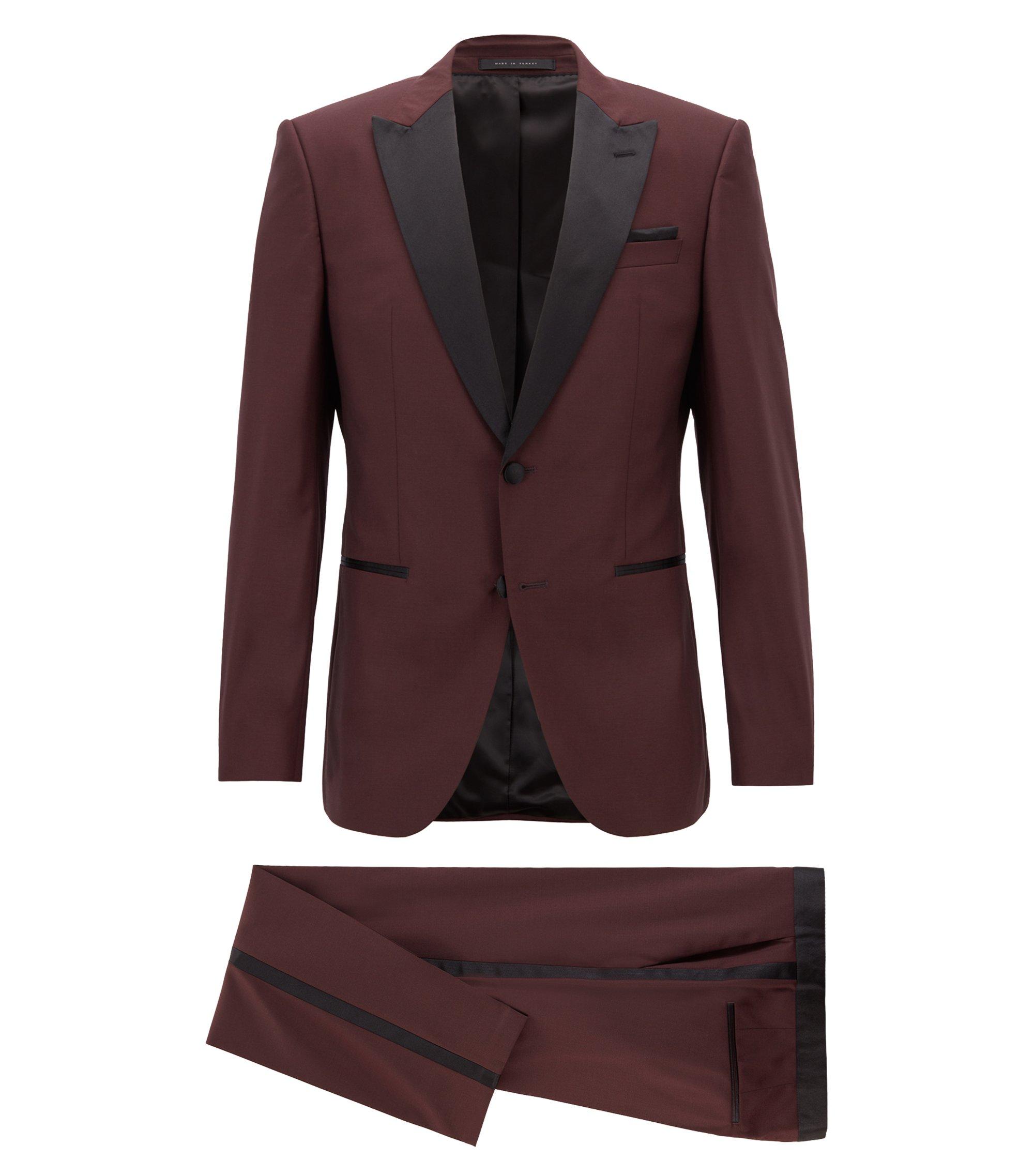 Slim-fit tuxedo in virgin wool with silk trims, Dark Purple