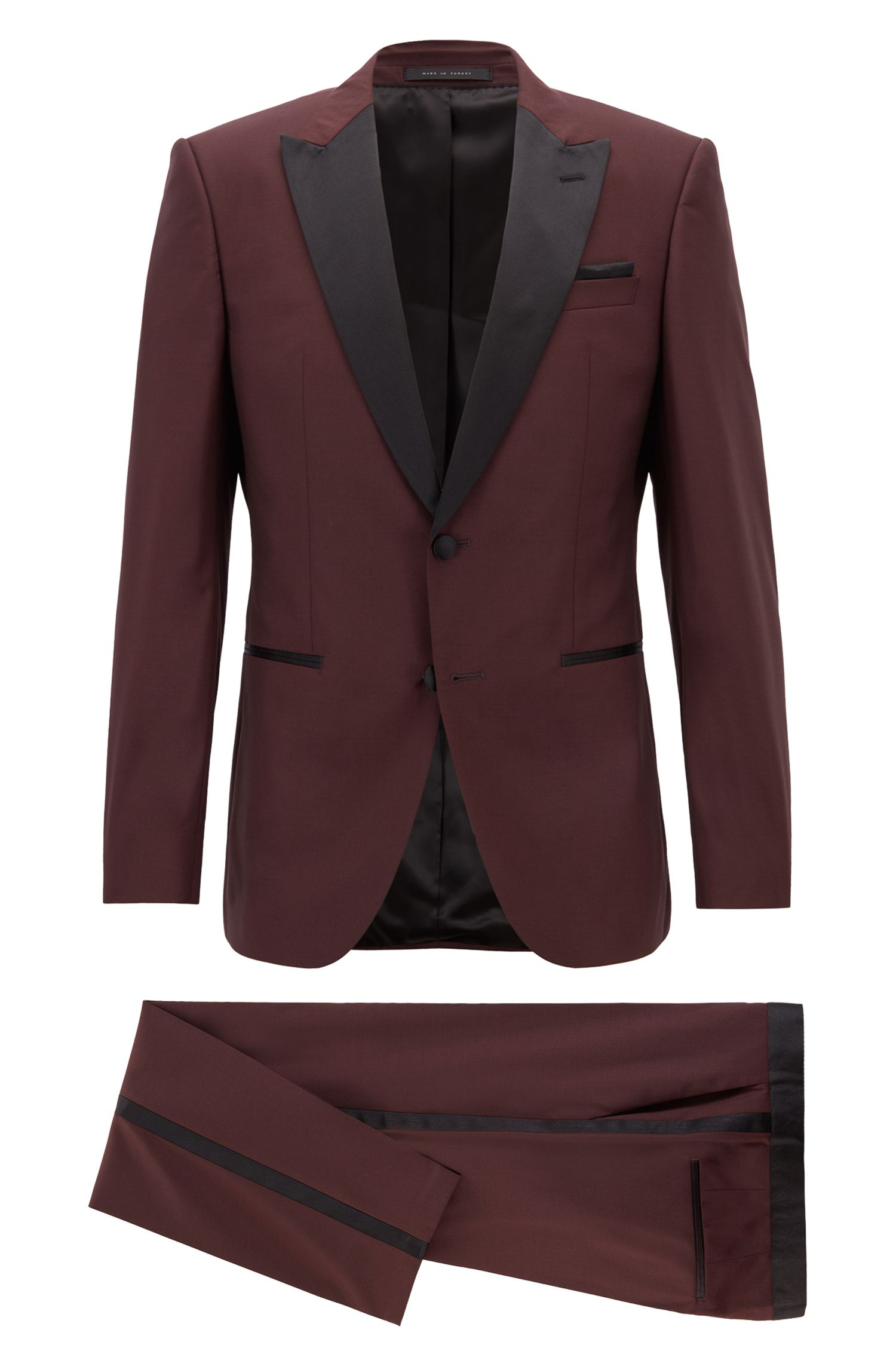 Slim-fit tuxedo in virgin wool with silk trims, Dark Purple