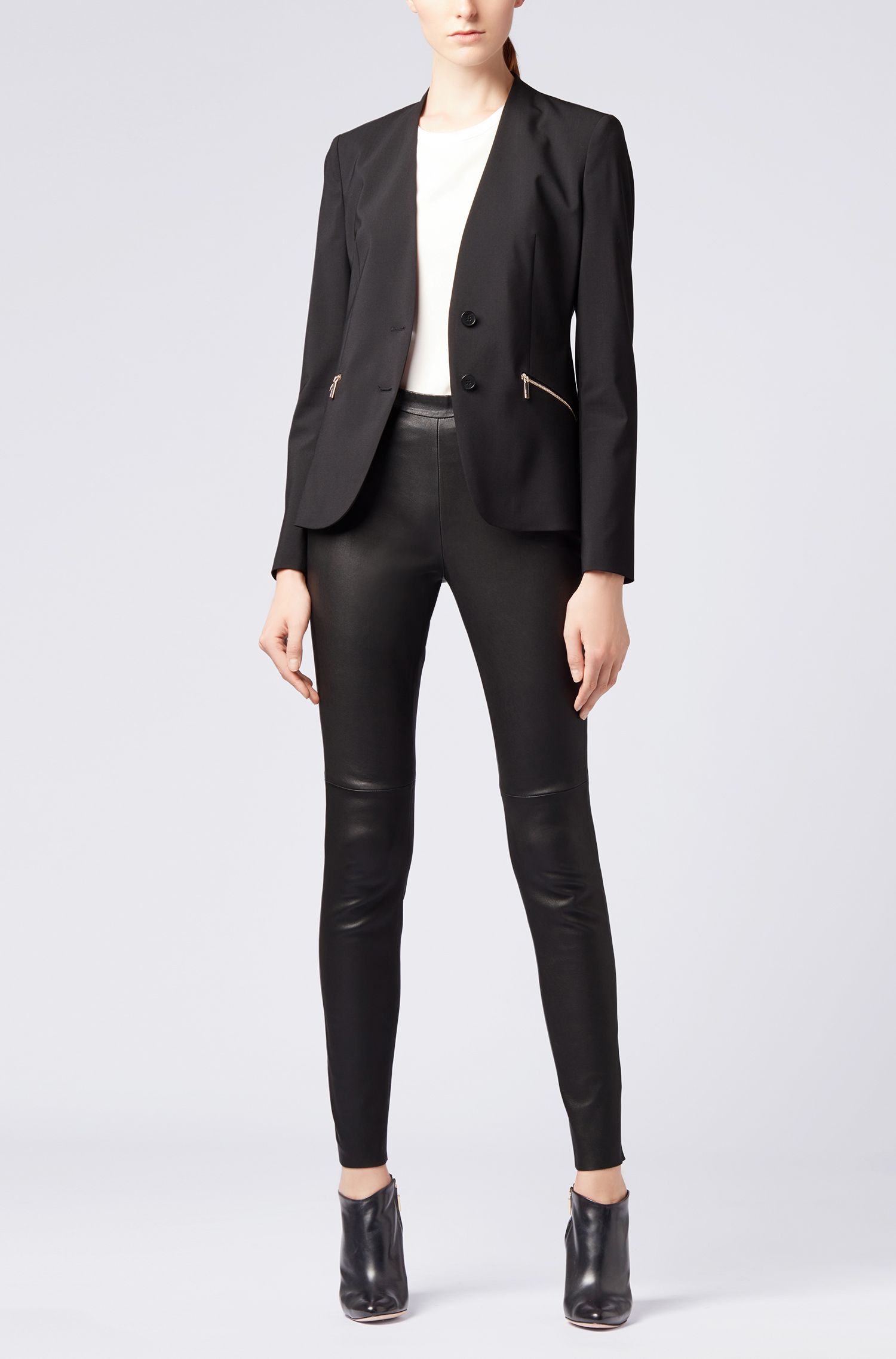 Italian-made collarless blazer in stretch virgin wool, Black