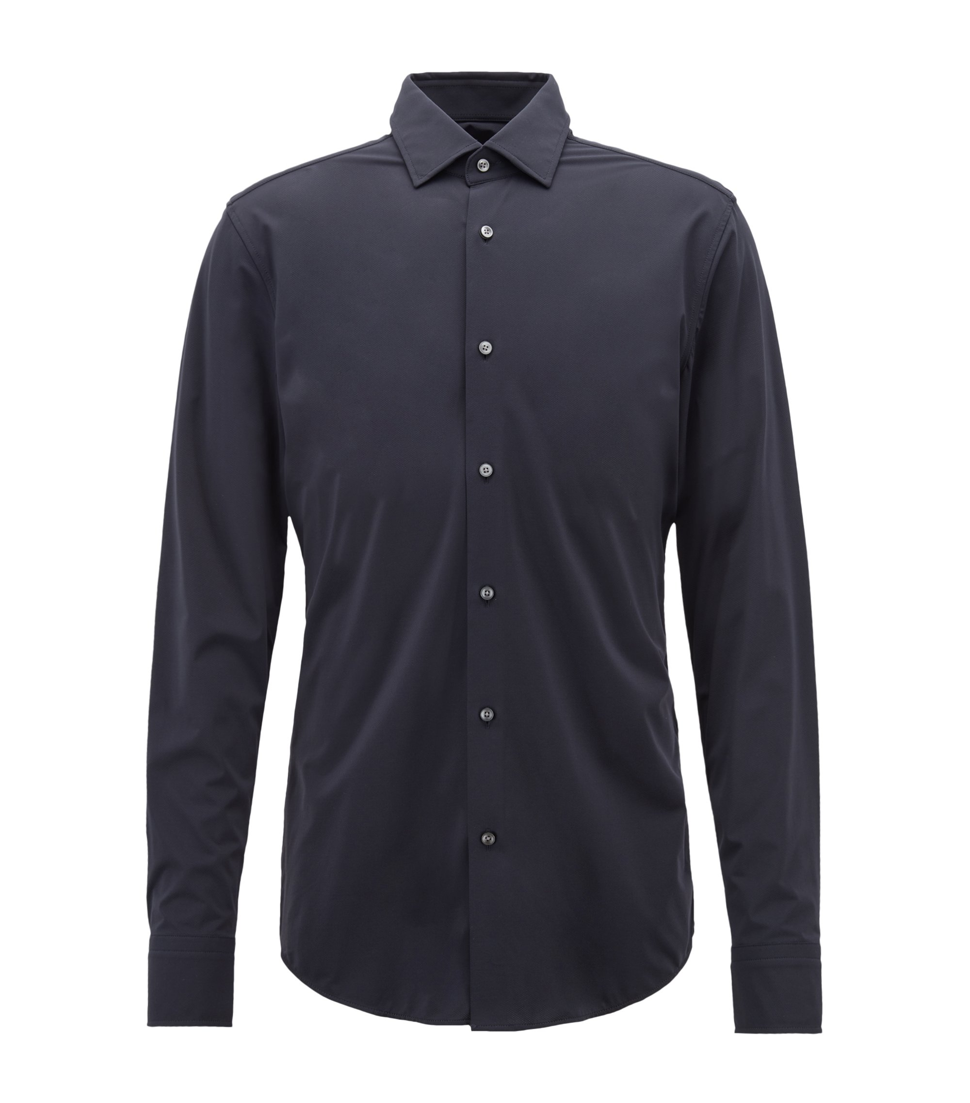 Slim-fit shirt in high-performance Italian stretch fabric, Dark Blue