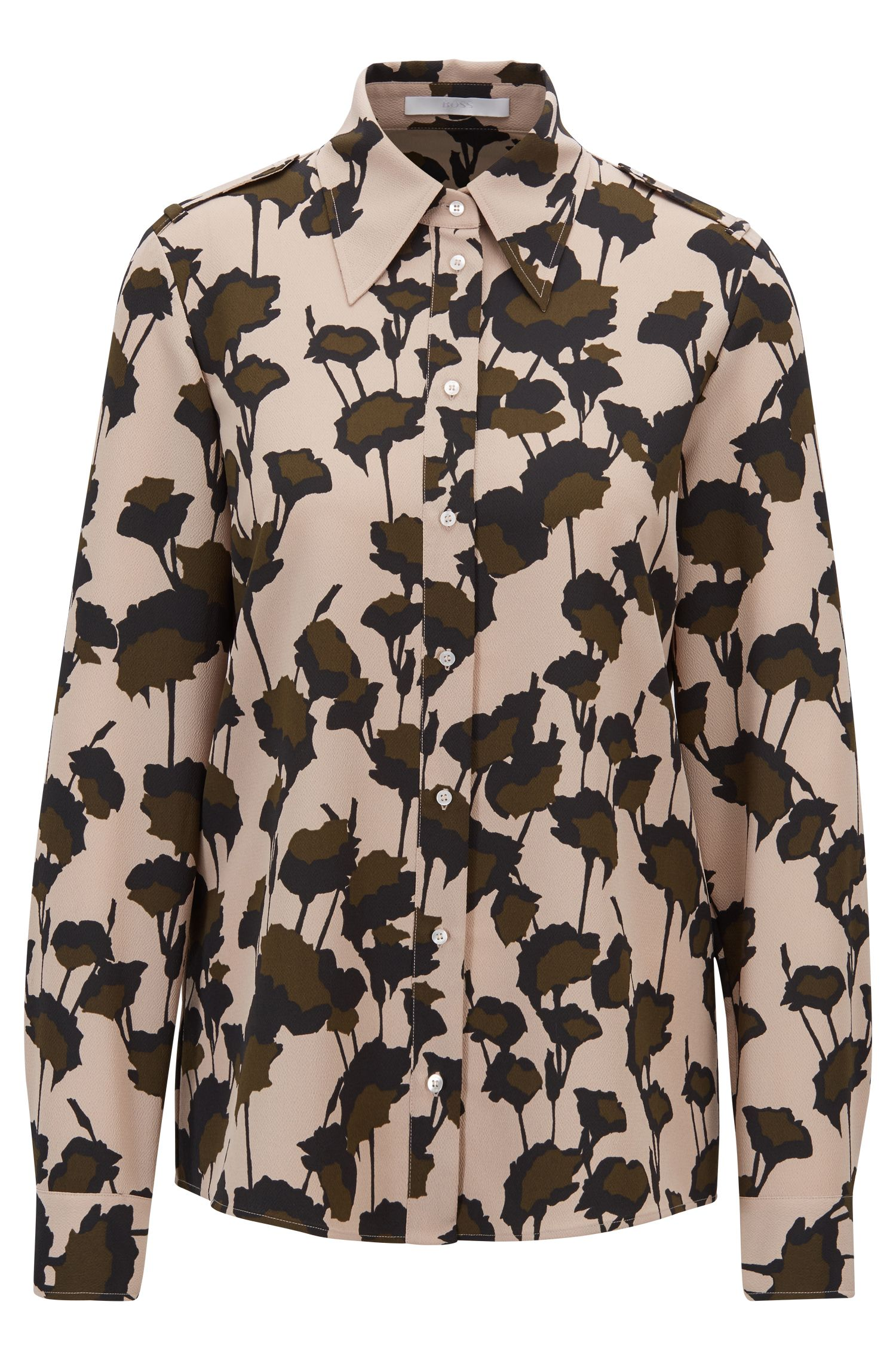 Utility-style blouse in Italian-made floral-print crepe, Patterned