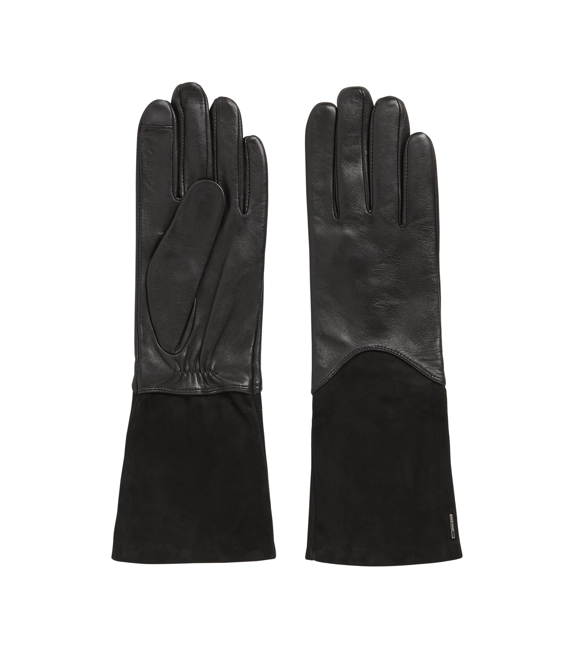 Longer-length lambskin gloves with Touch Tech tips, Black