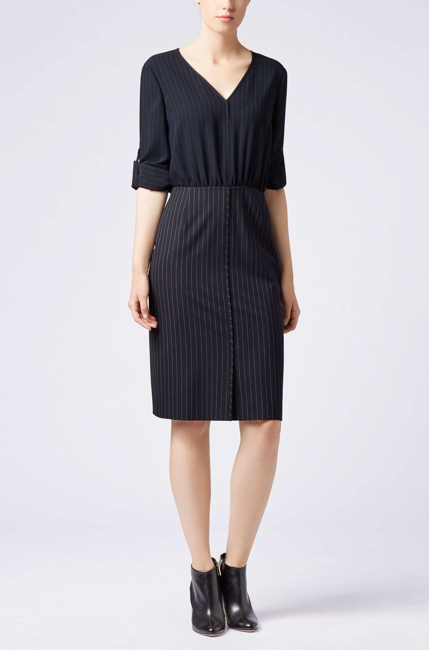 Pinstripe dress with blouse-style upper section, Patterned