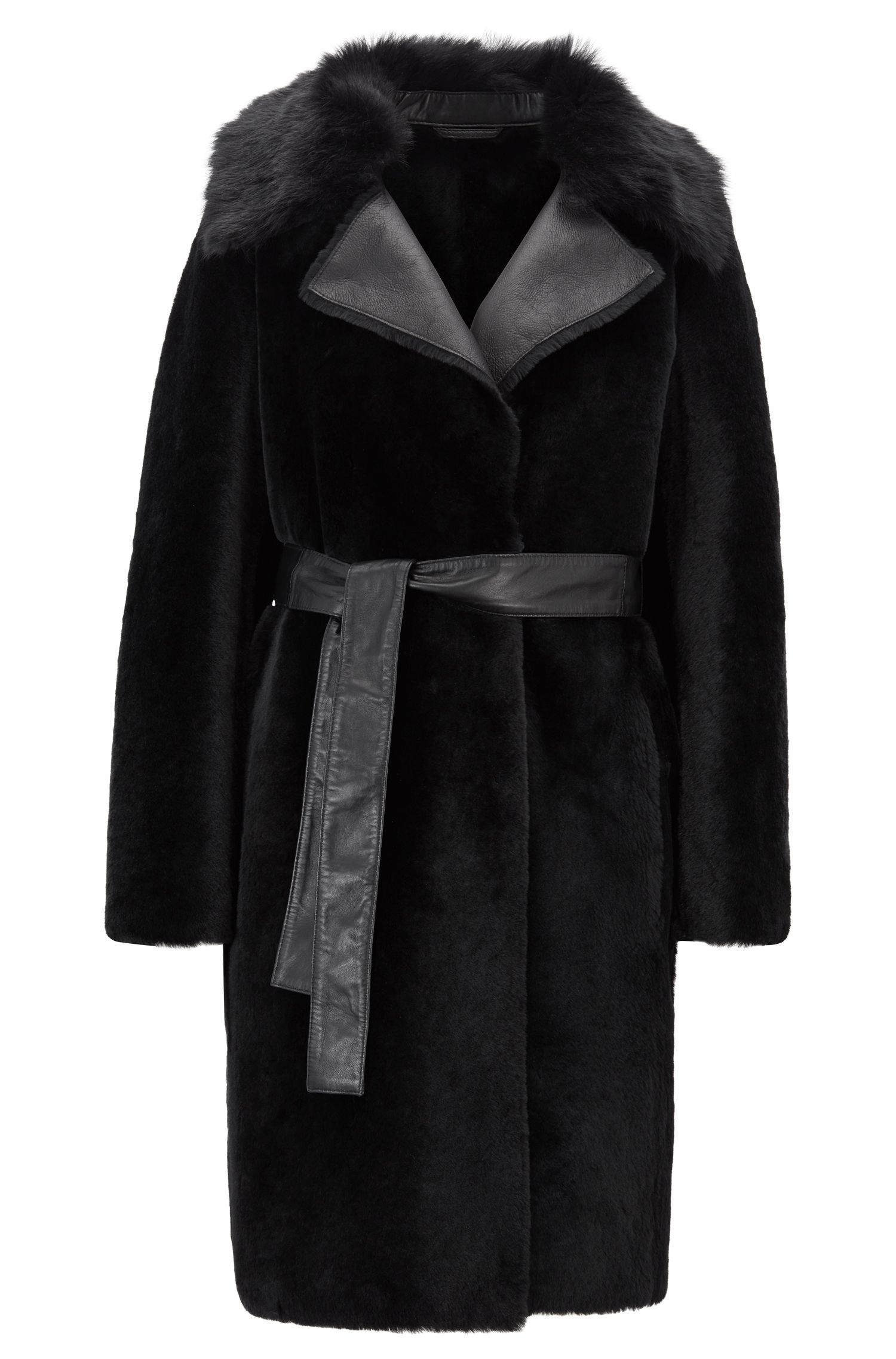 Shearling coat with leather panels, Black