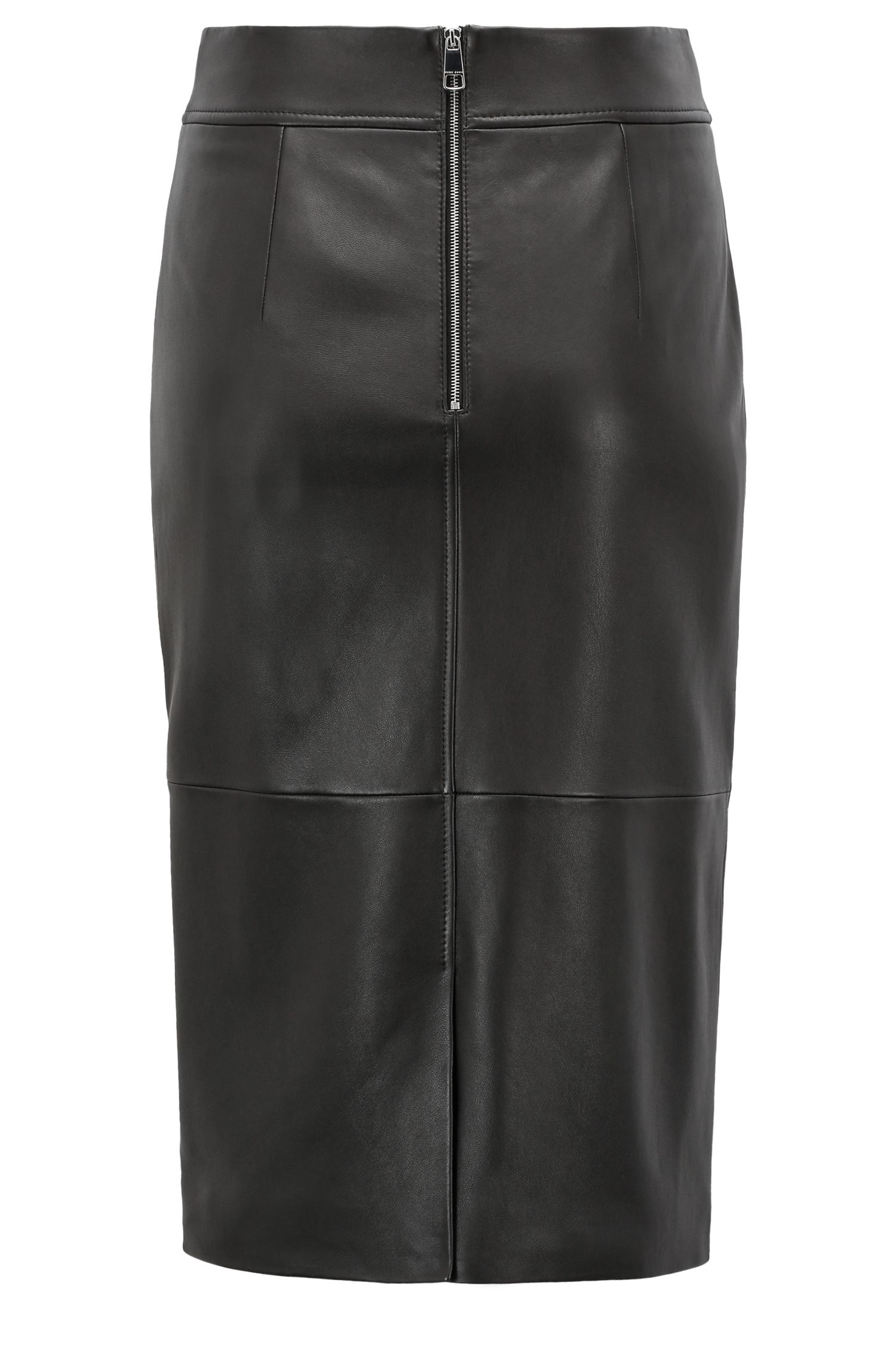Lambskin-leather pencil skirt with paneled structure, Black
