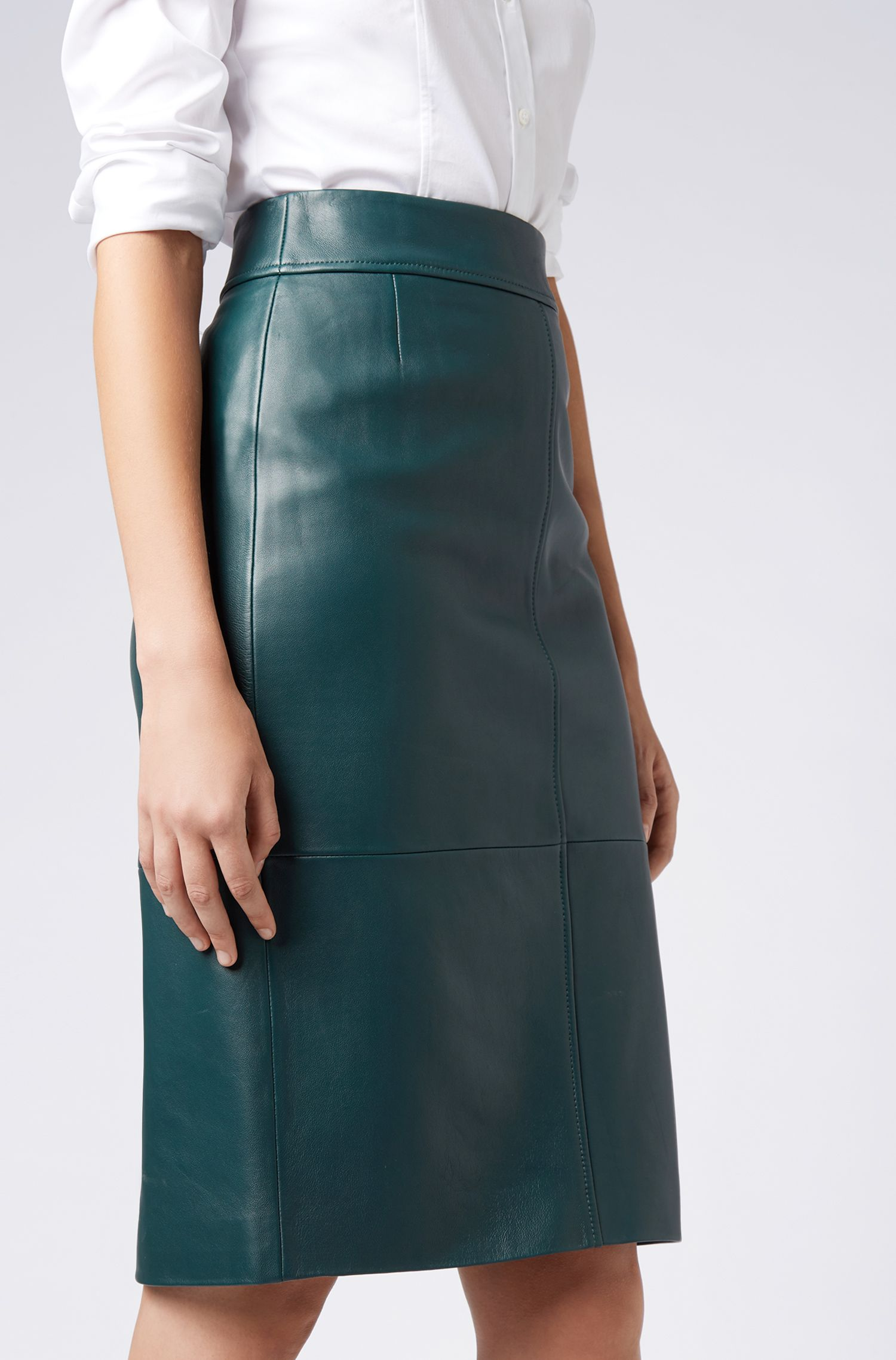 Lambskin-leather pencil skirt with paneled structure, Open Green