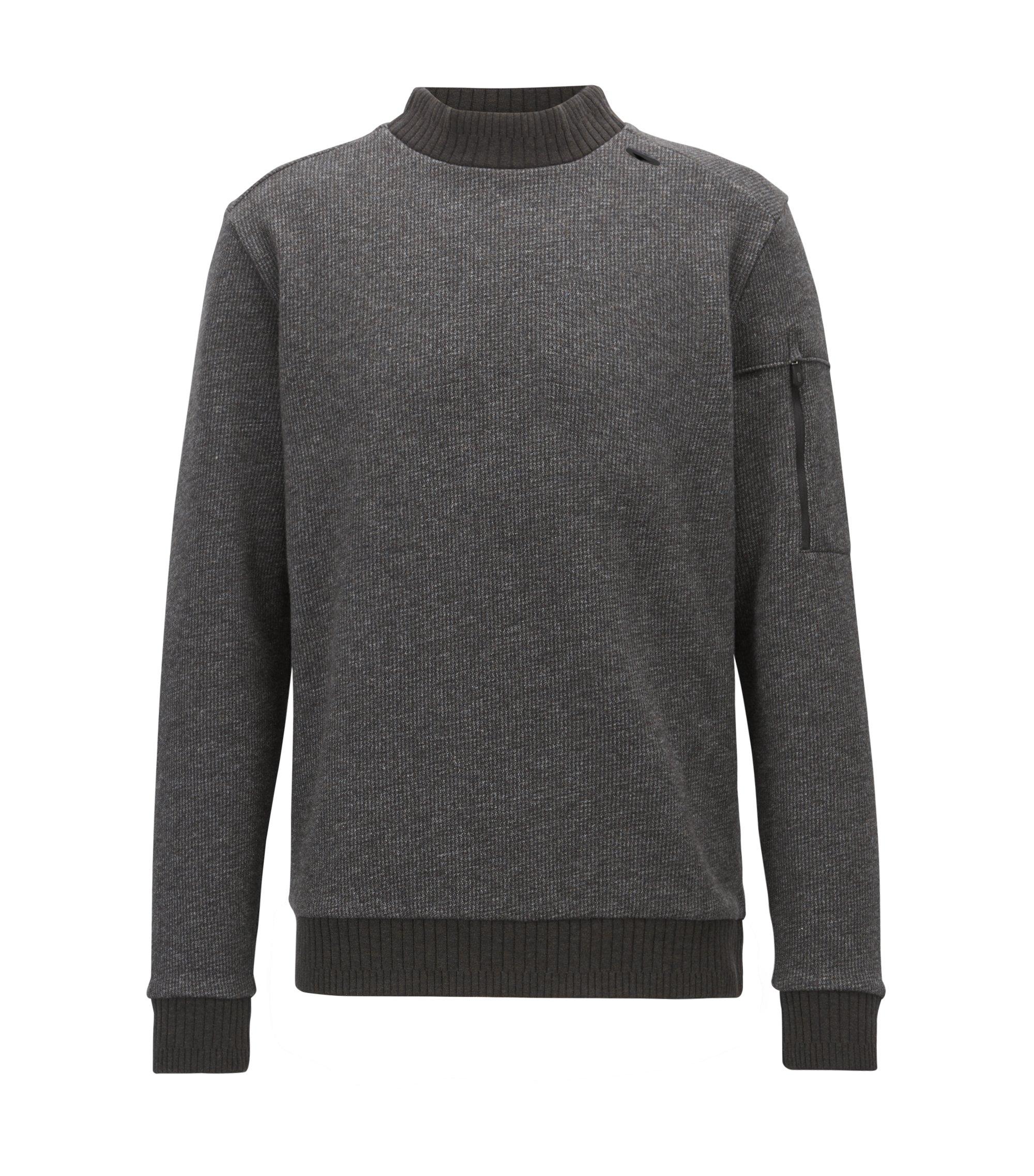 Turtleneck sweater in double-faced cotton-blend fleece, Black