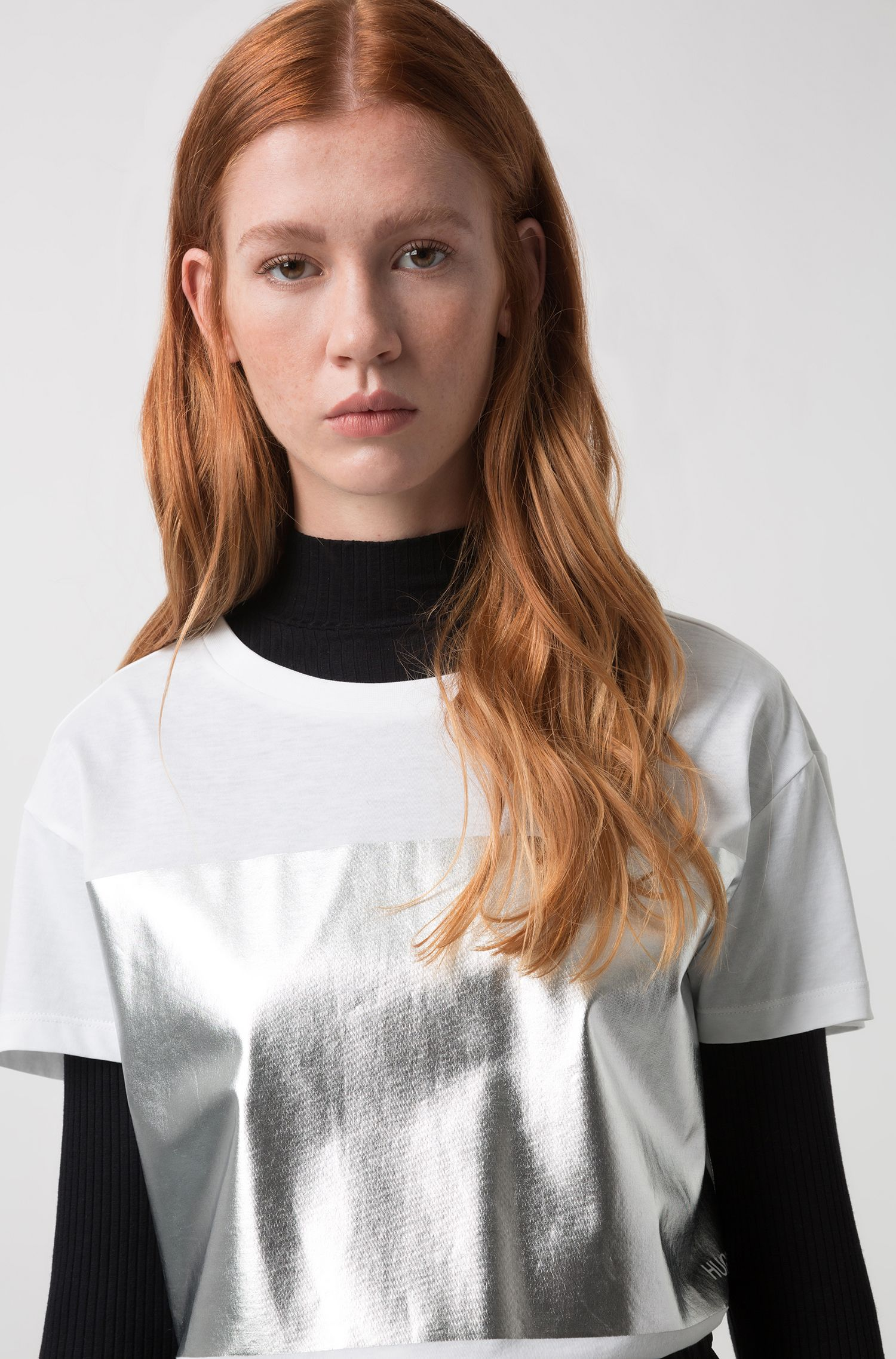 Relaxed-fit jersey T-shirt with silver-foil block print, White