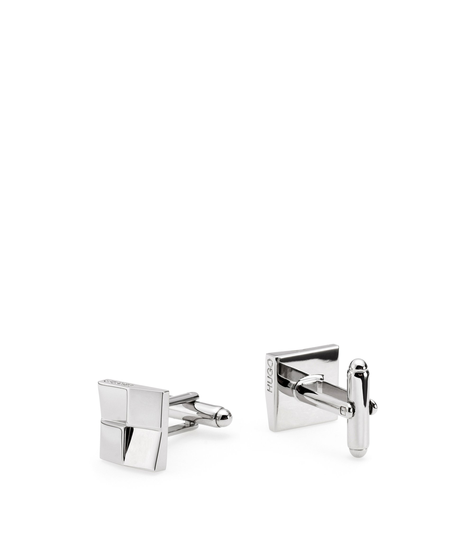 Square cufflinks in polished brass with faceted effect, Silver