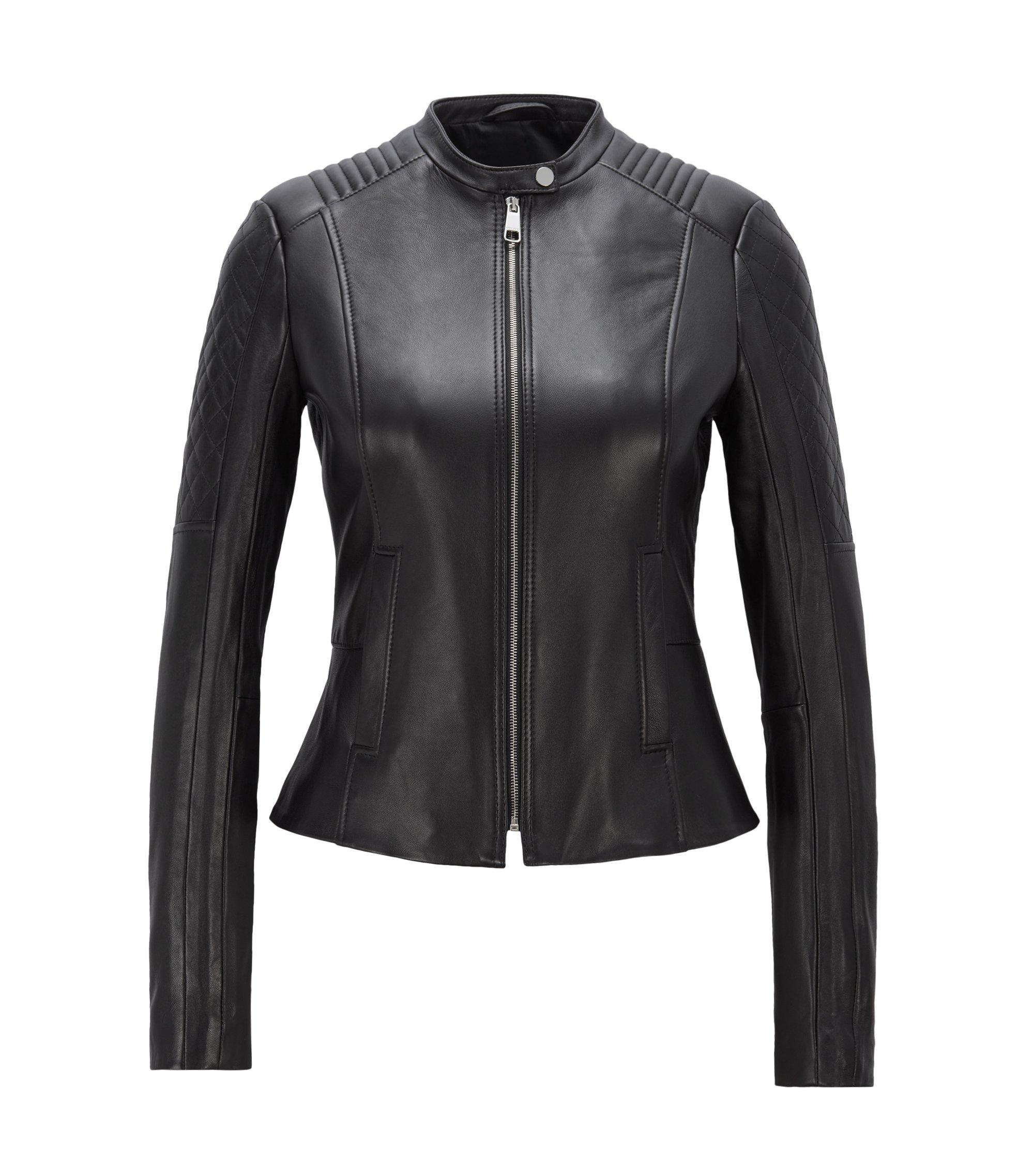 Slim-fit biker jacket in lambskin with peplum waist, Black