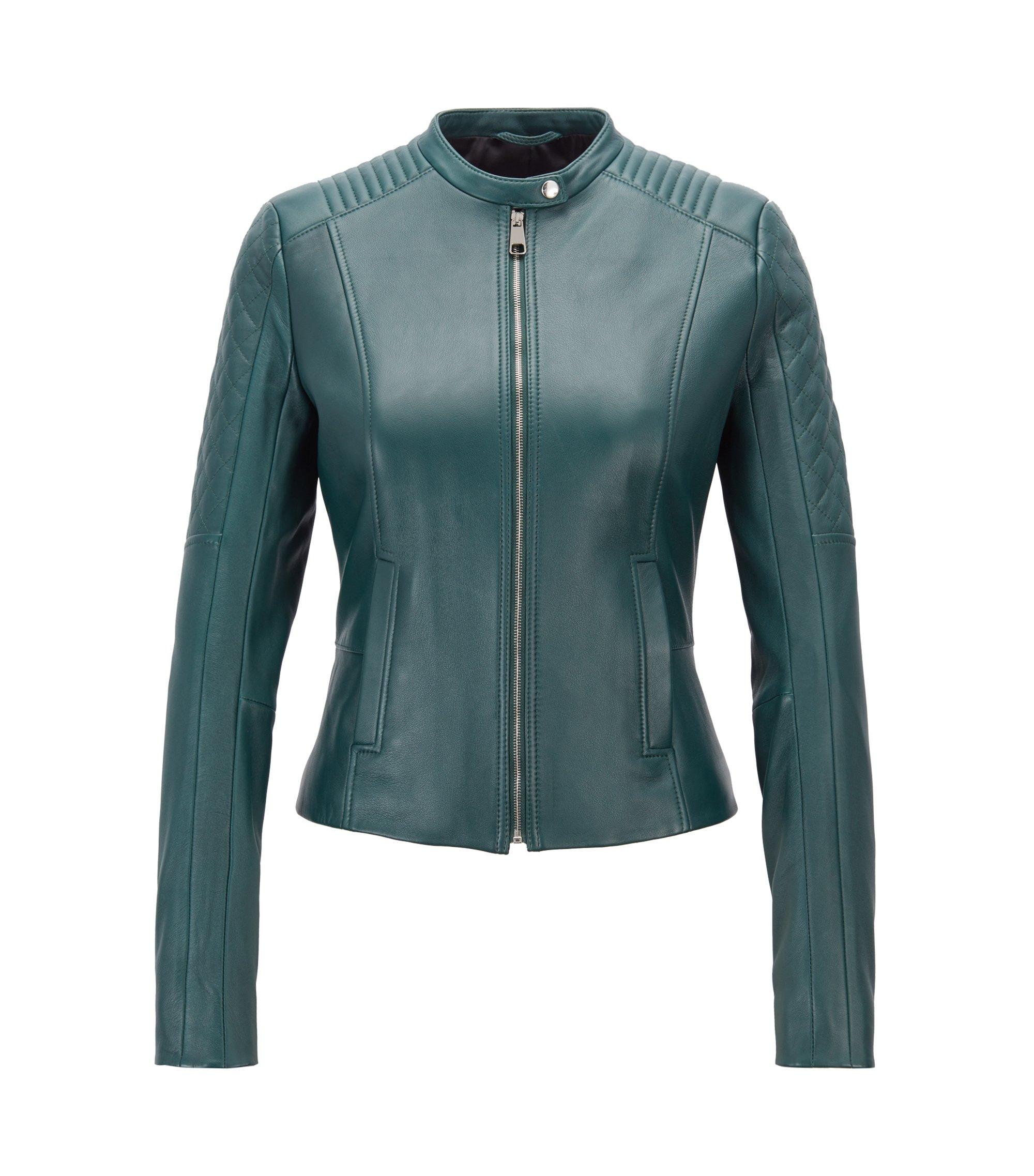 Slim-fit biker jacket in lambskin with peplum waist, Open Green
