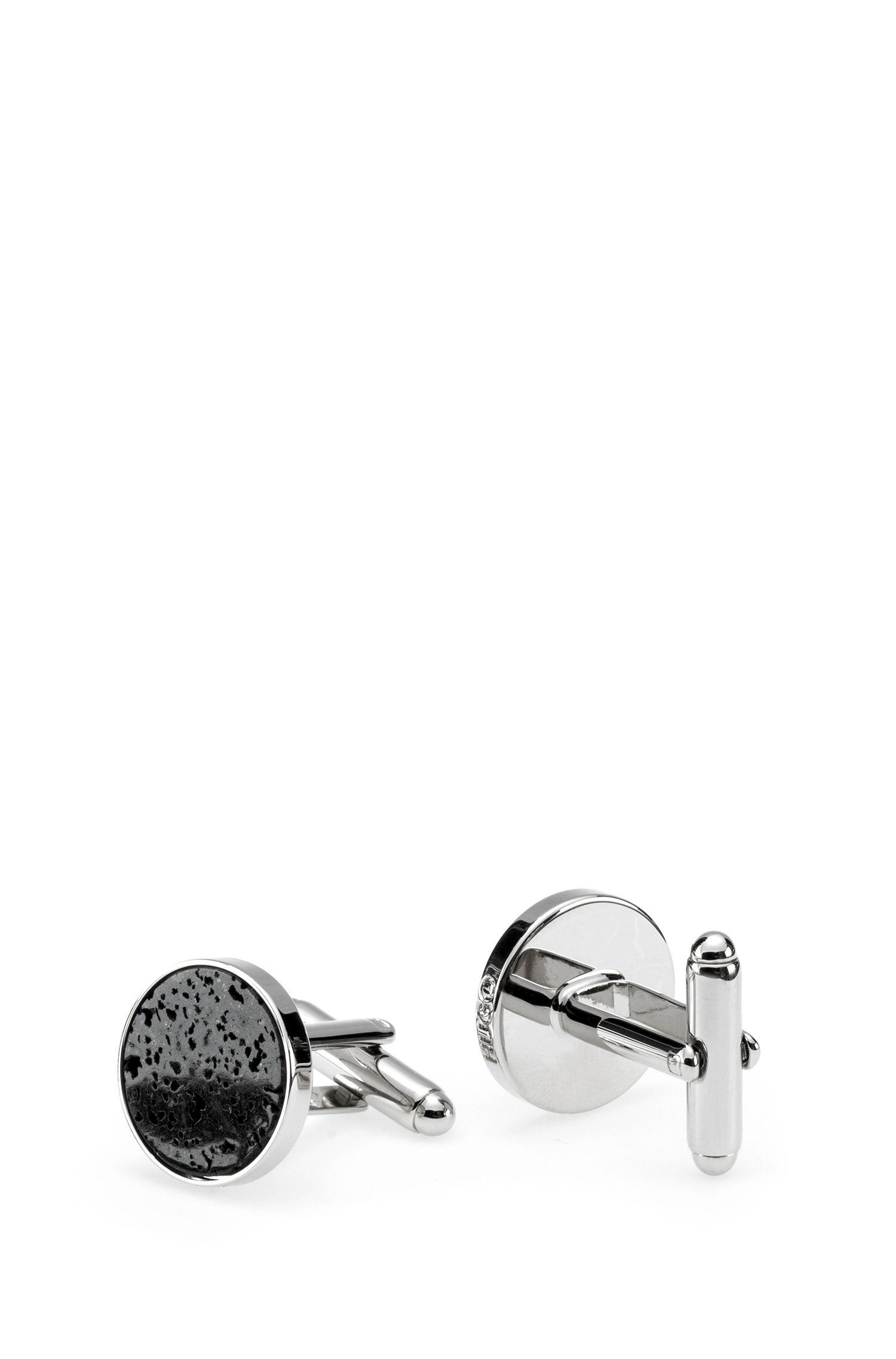 Round cufflinks with mottled stone insert, Silver