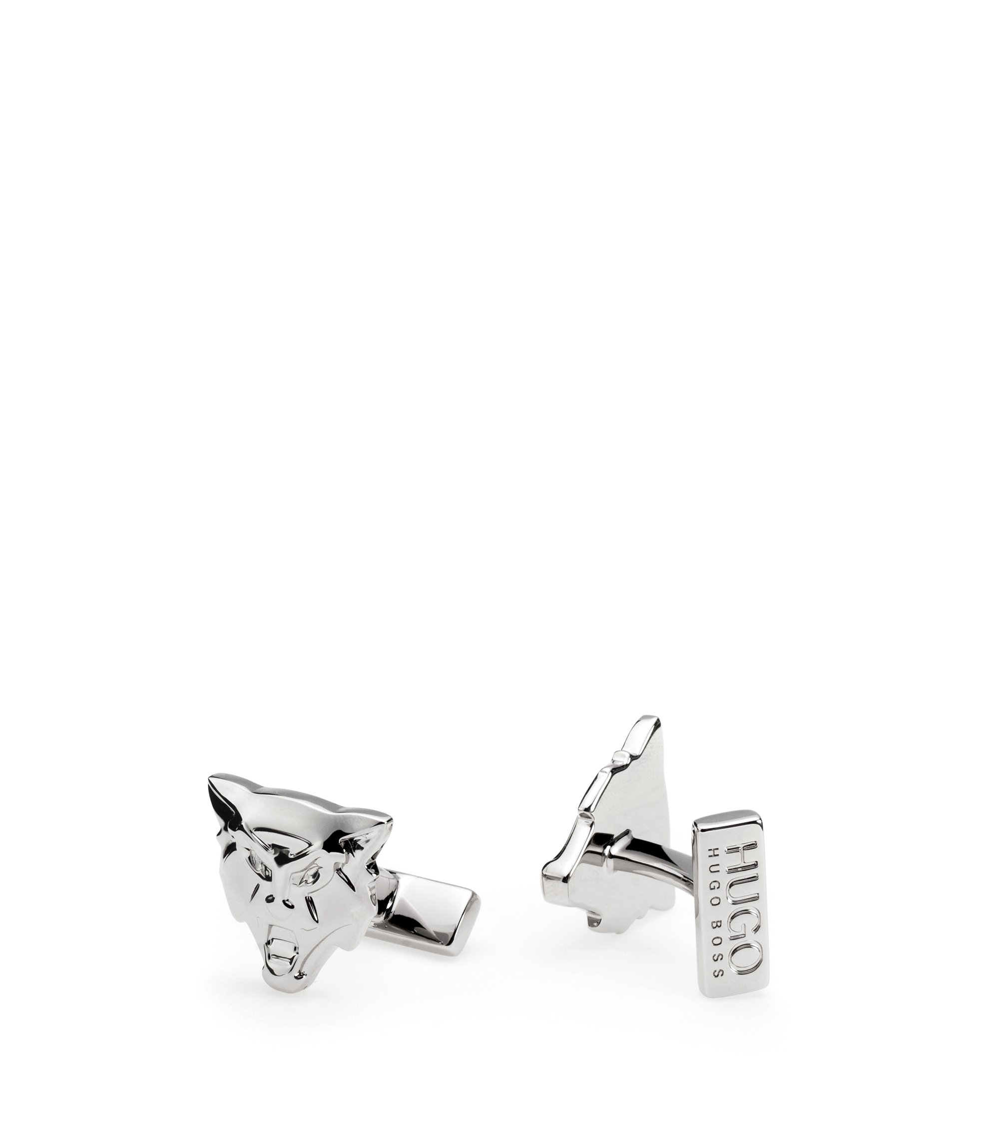 Wolf cufflinks in polished silver-effect brass, Silver
