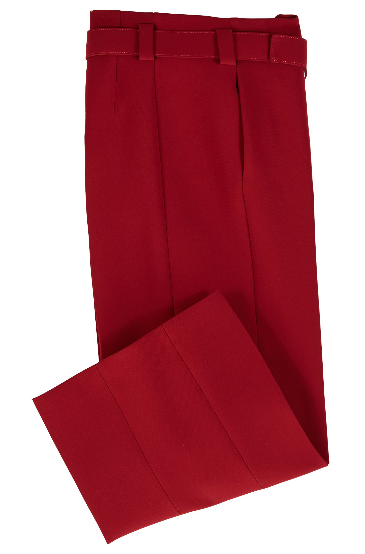 Cropped wide-leg pants in bonded micro fabric, Dark Red