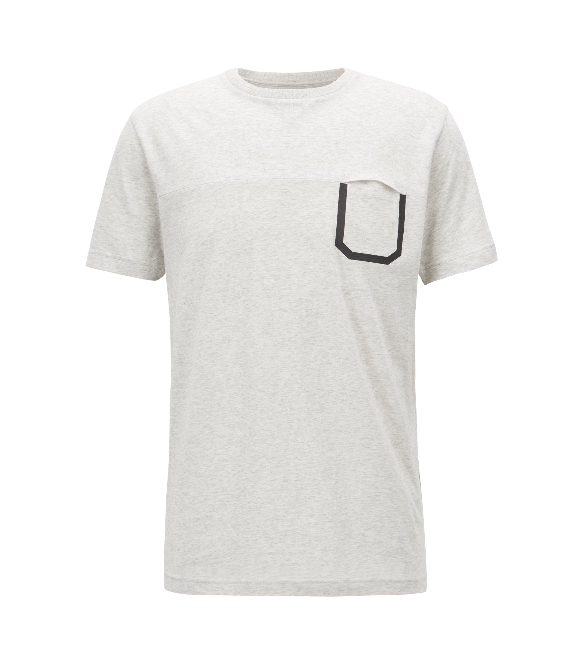 Melange cotton T-shirt with pocket detail, White