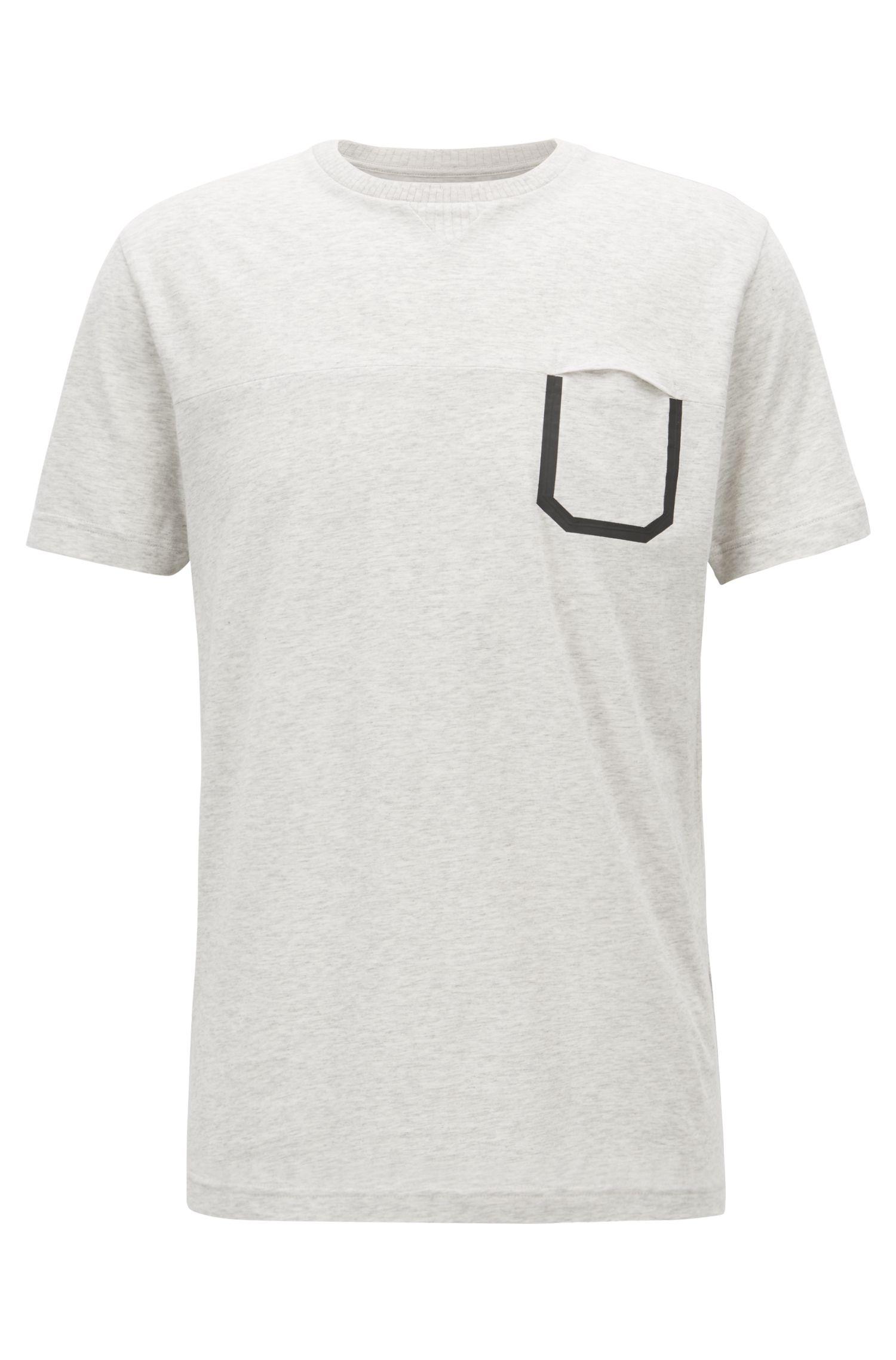 Melange cotton T-shirt with pocket detail