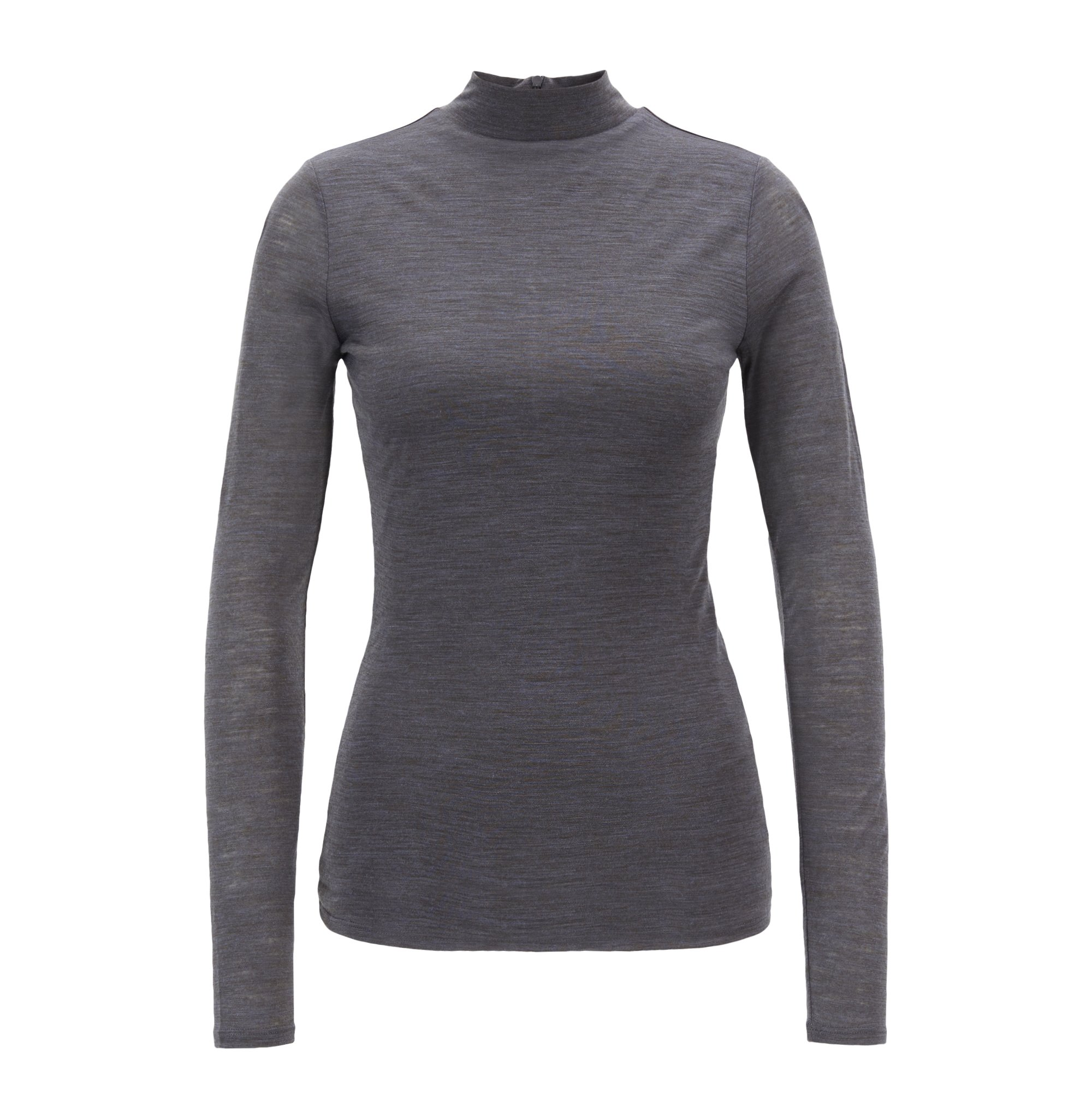 Turtleneck top in lightweight fabric with lined body, Charcoal