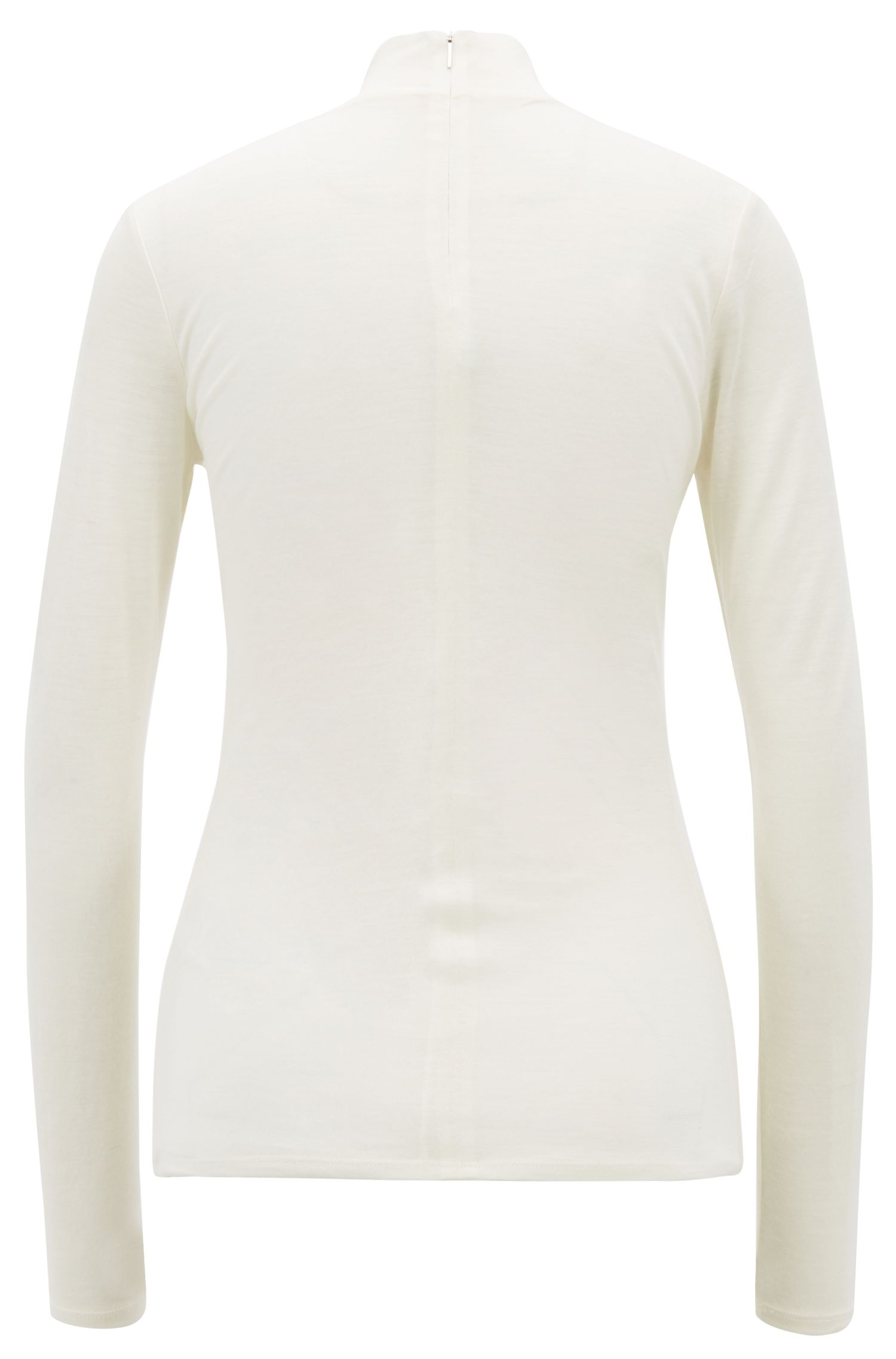 Turtleneck top in lightweight fabric with lined body, Natural