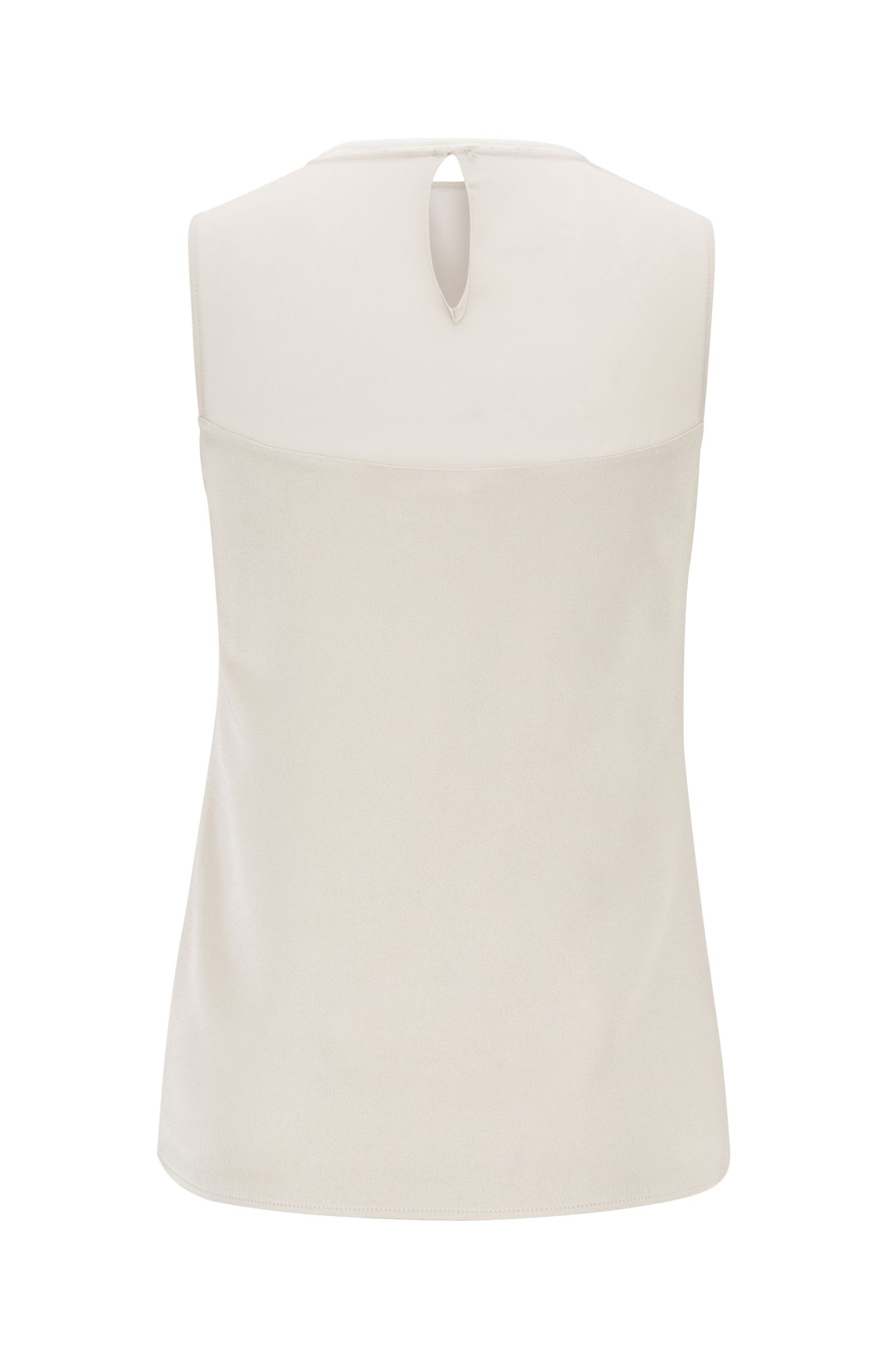 Sleeveless top with silk chevron detail, Light Beige