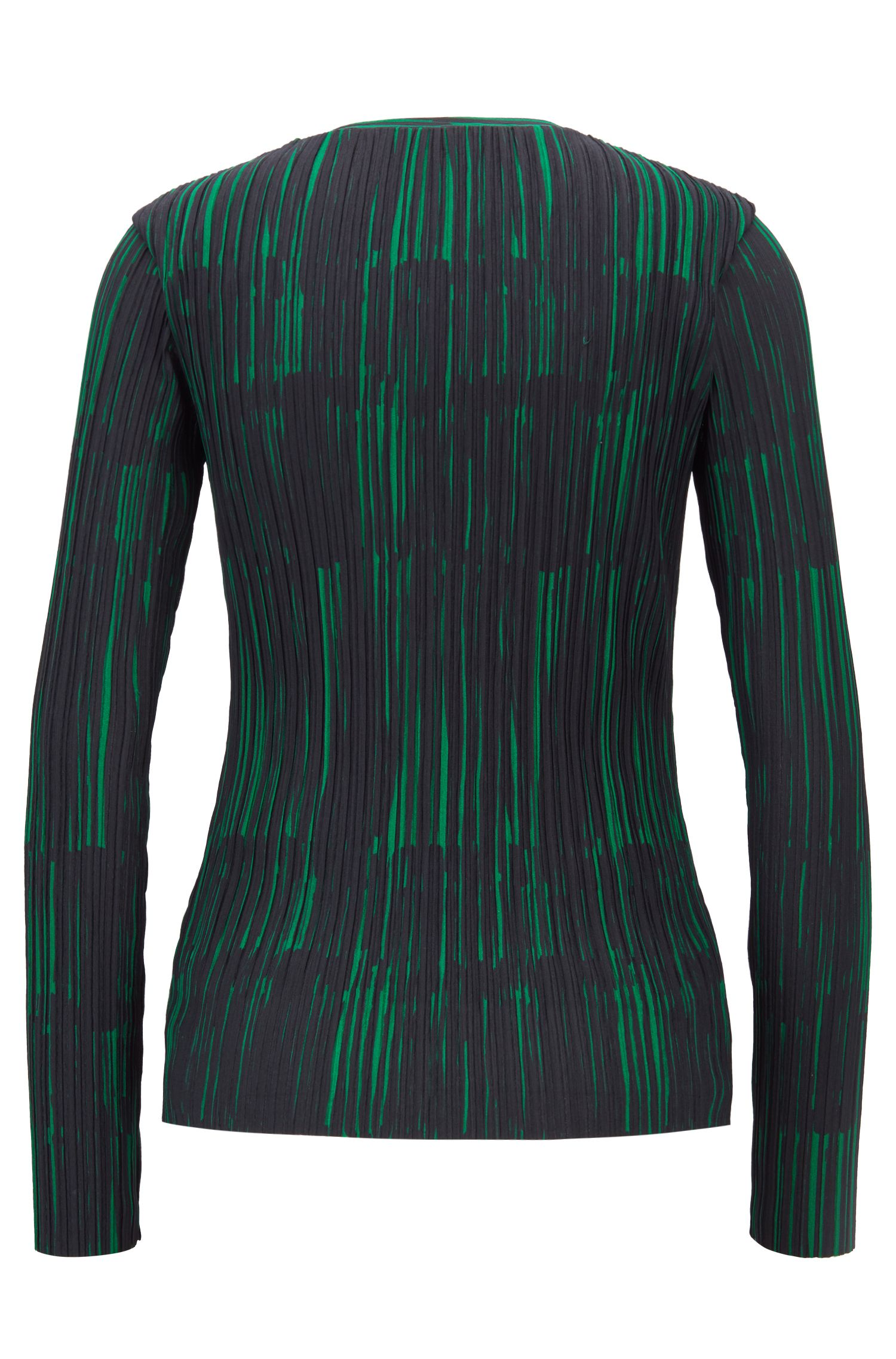 Slim-fit top with plissé detail and collection print, Patterned