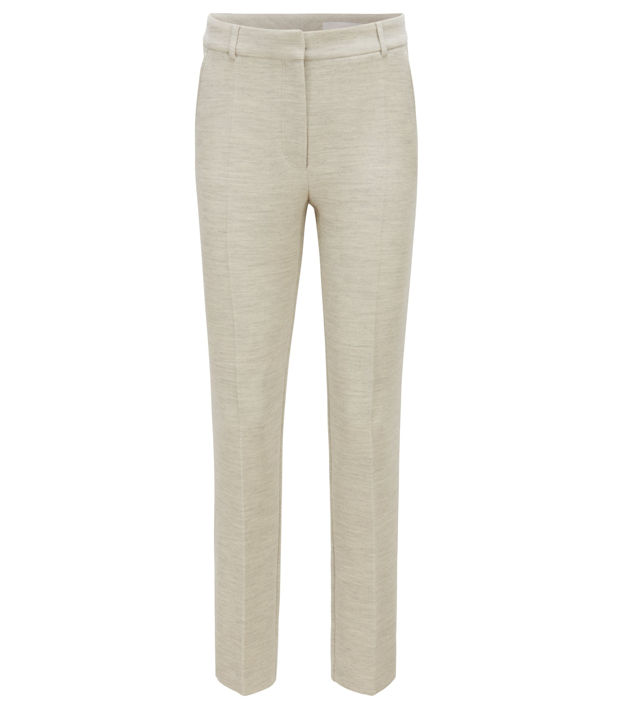 Regular-fit cropped pants in soft stretch crepe, Open White