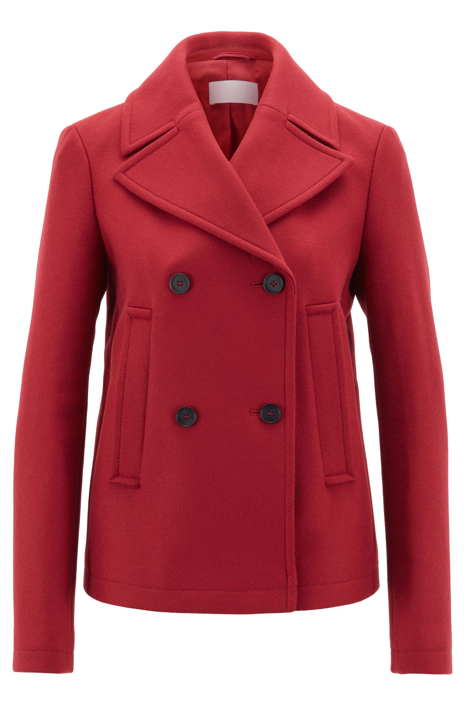Double-breasted pea coat in Italian wool-blend twill, Dark Red