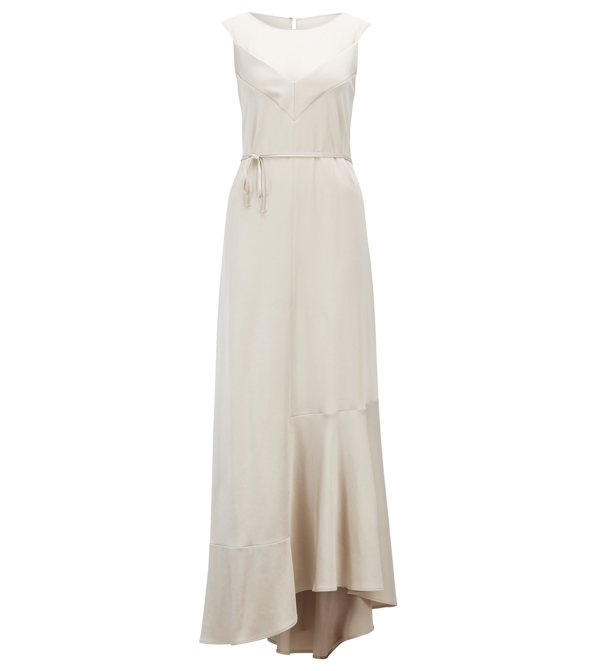 Sleeveless evening dress in lustrous crepe with scoop neck, Light Beige