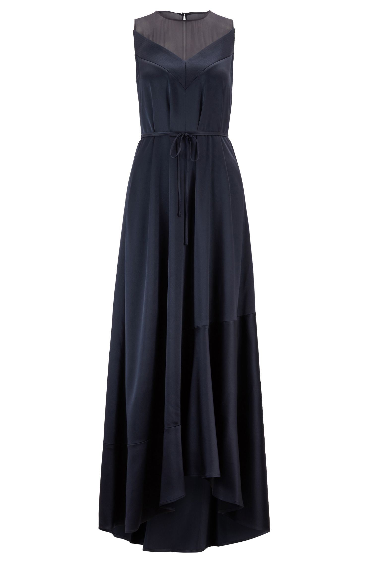 Sleeveless evening dress in lustrous crepe with scoop neck, Open Blue