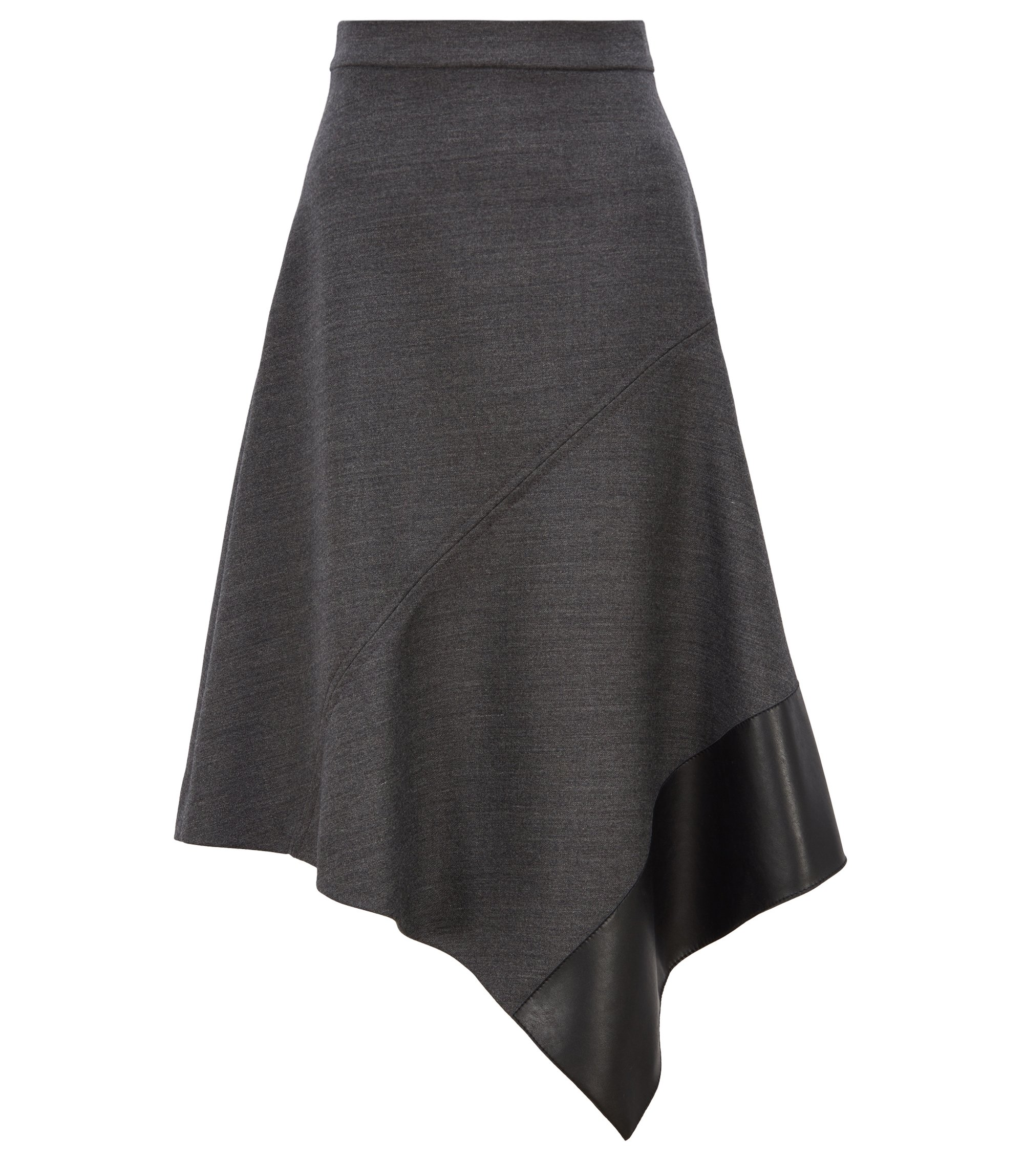 A-line skirt in Italian virgin wool with asymmetric hemline, Charcoal