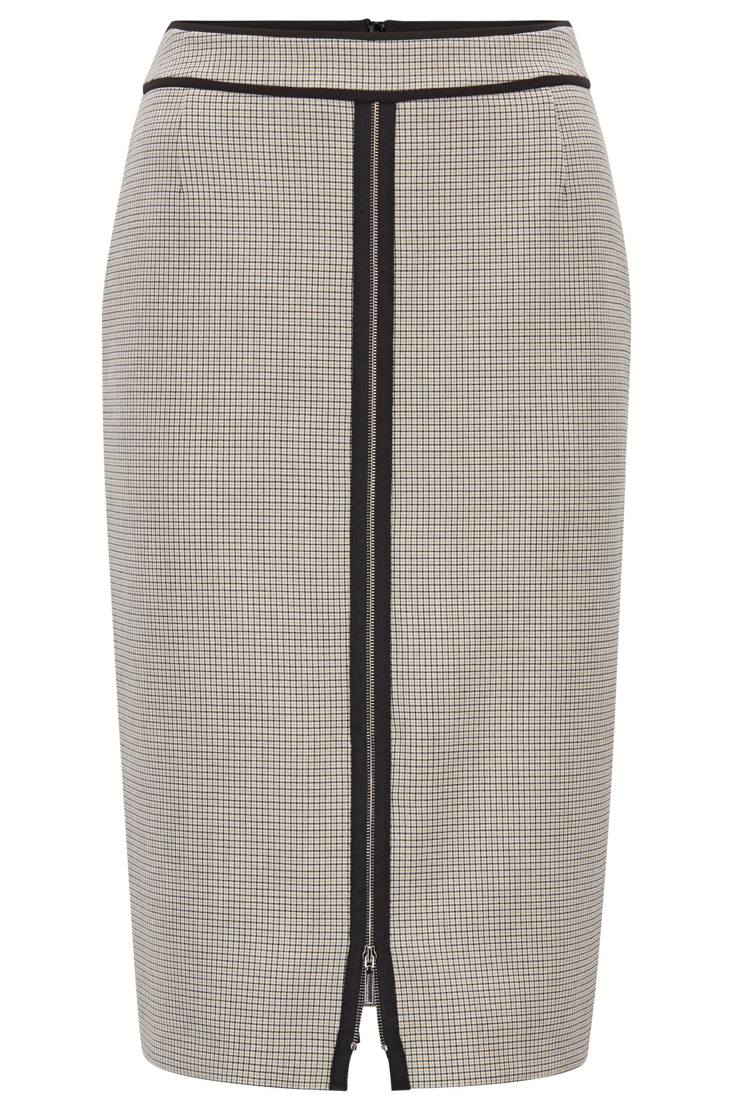 Pencil skirt in checked stretch fabric with front zipper, Patterned