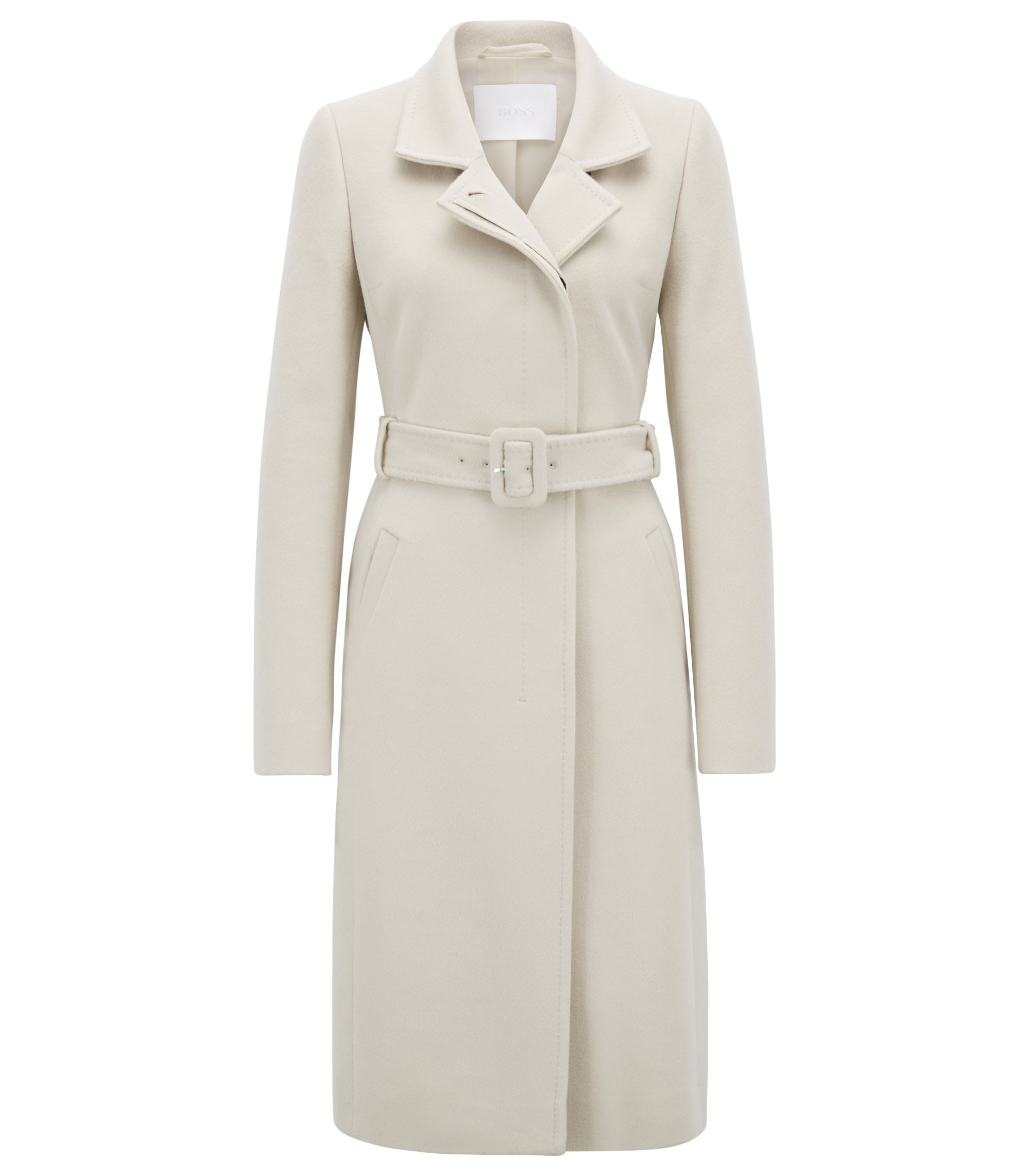 Belted coat in Italian virgin wool with adaptable collar, Light Beige